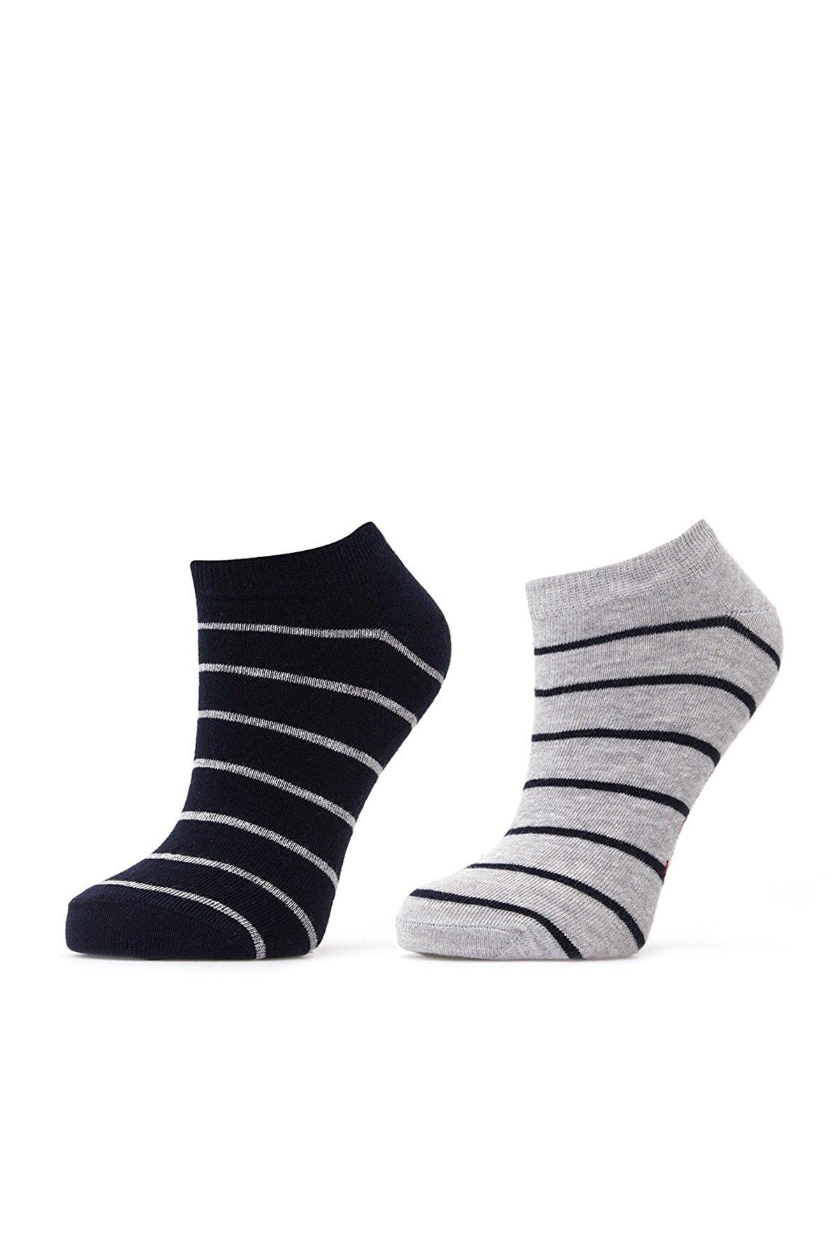 Lee Cooper Kadın Anna 2'Li Patik Çorap Lacivert Çizgili-Gri Melanj Çizgili 211 LCF 286004