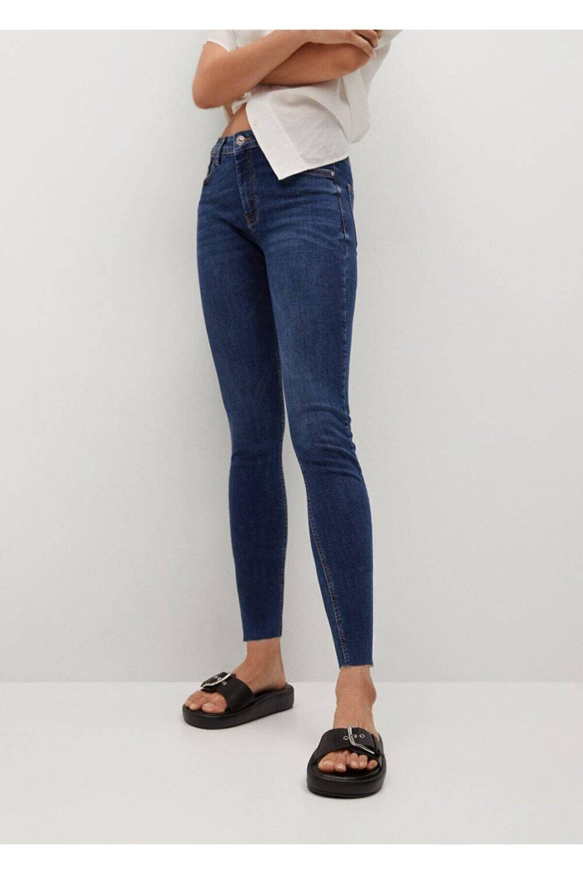 Mango Kadın Koyu Mavi Kısa Paçalı Skinny Isa Jean Pantolon