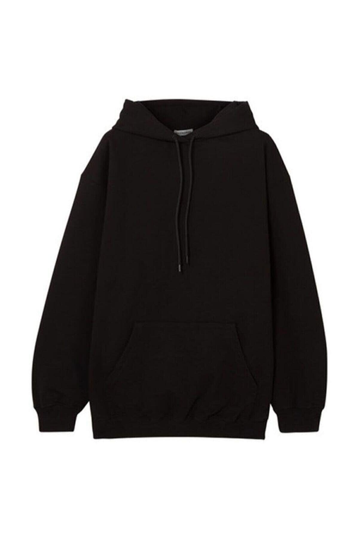 Unero Kapüşonlu Unisex Siyah Cepli Sweatshirt