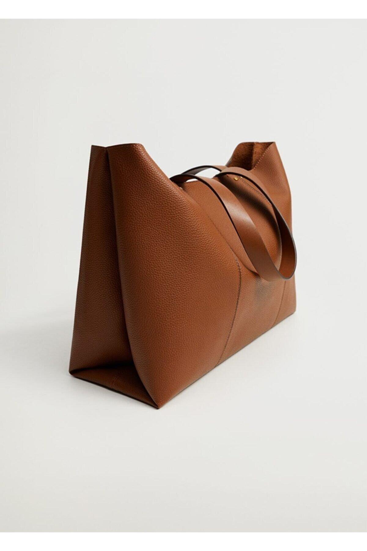 Mango Kadın Orta Kahverengi Dikişli Shopper Çanta