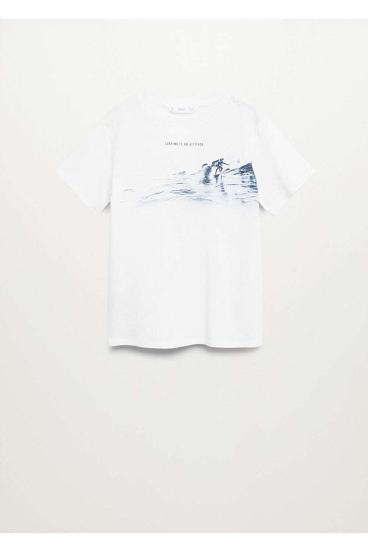 Mango Pamuk Karışımlı Desenli  T-Shirt