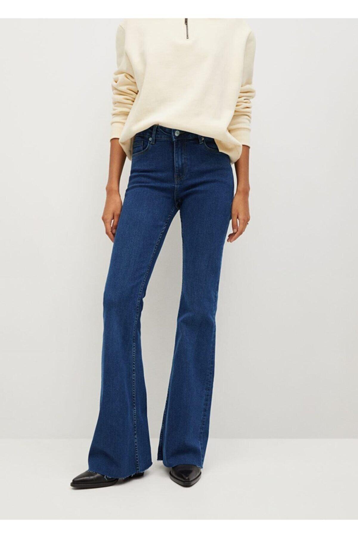 Mango Kadın Koyu Mavi Bel Yüksekliği Orta Boy Flare Jeans