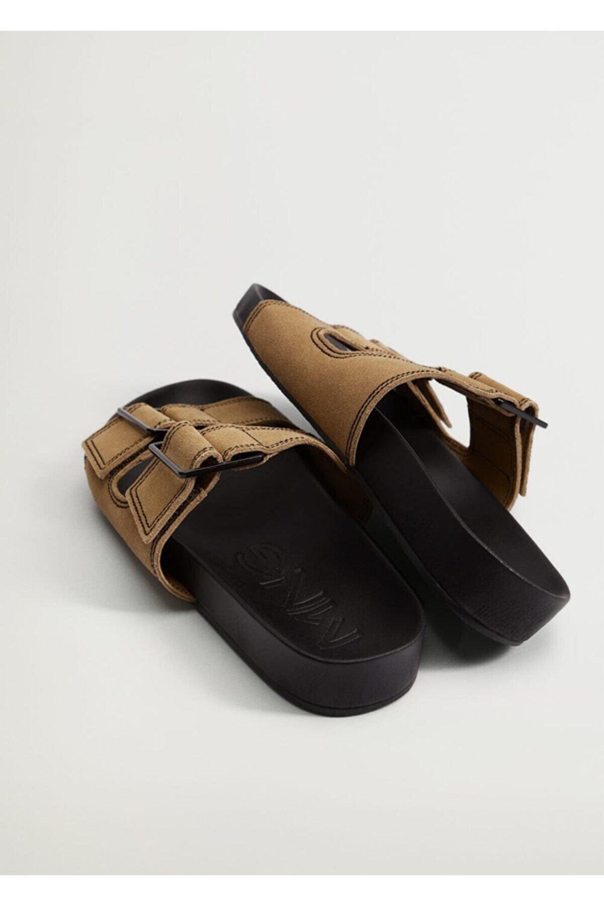 Mango Kadın  Kahverengi Deri Bantlı Sandalet
