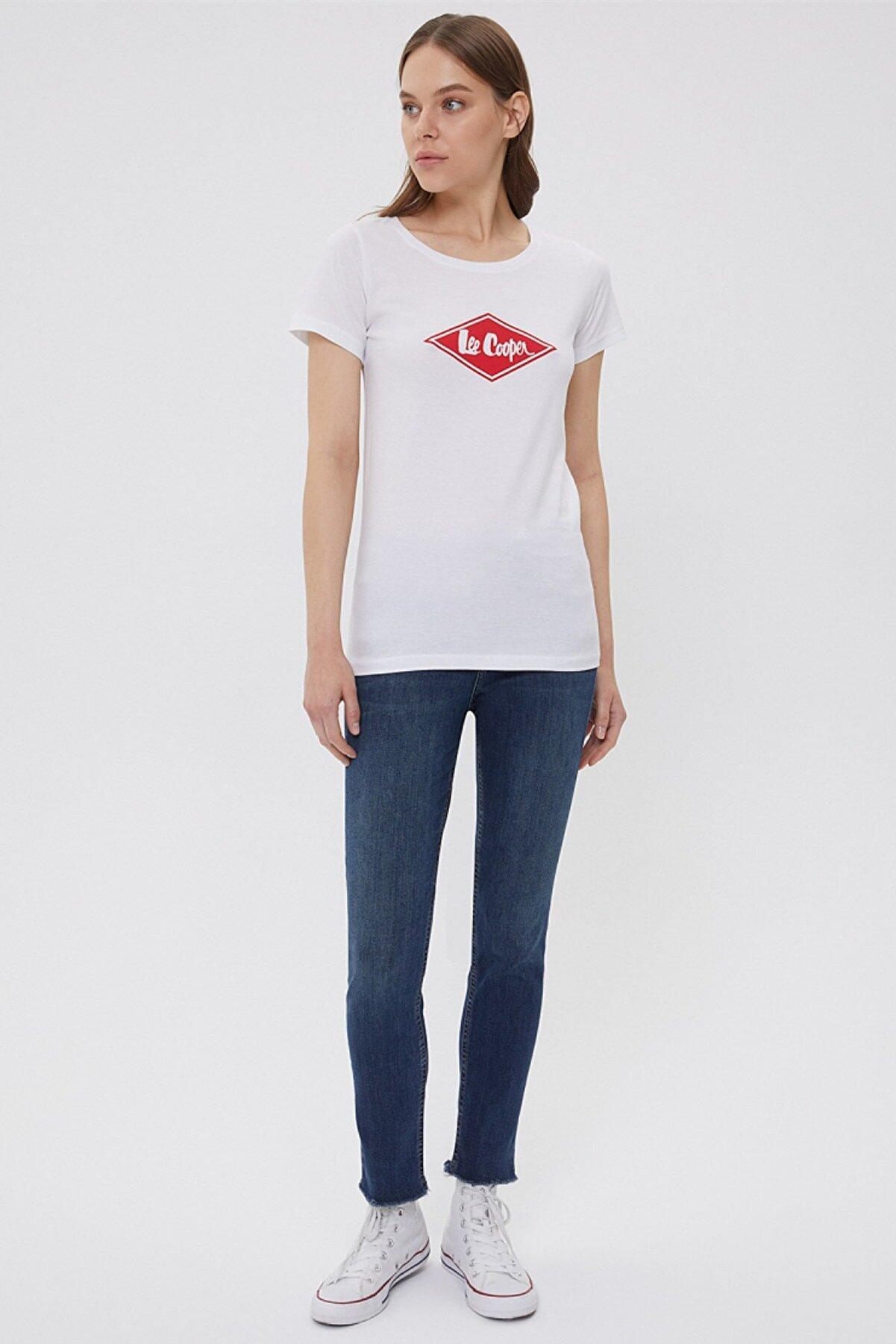 Lee Cooper Kadın Jade O Yaka T-Shirt Beyaz 202 LCF 242012