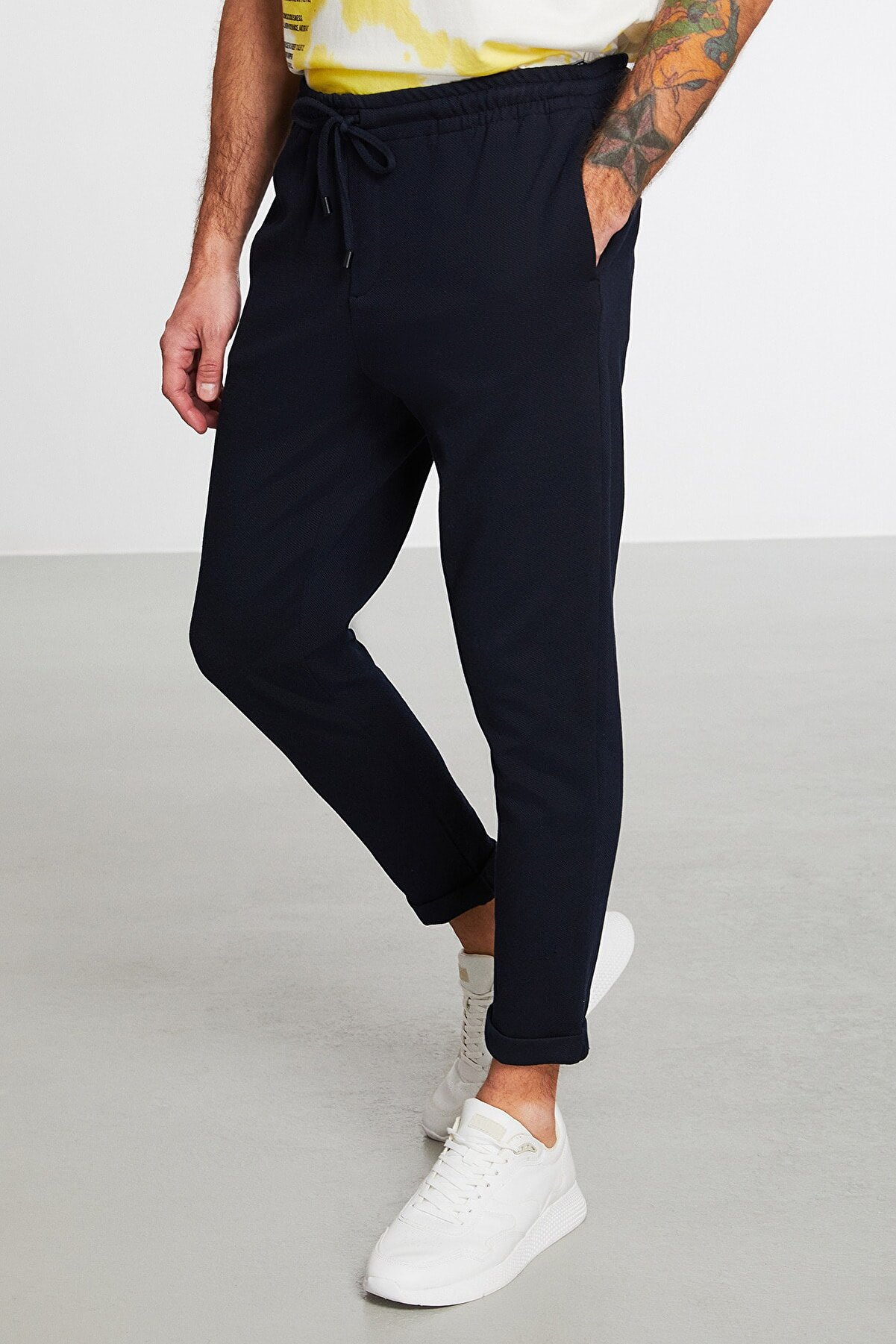 GRIMELANGE Unblended Erkek Lacivert Düz Renk Pantolon