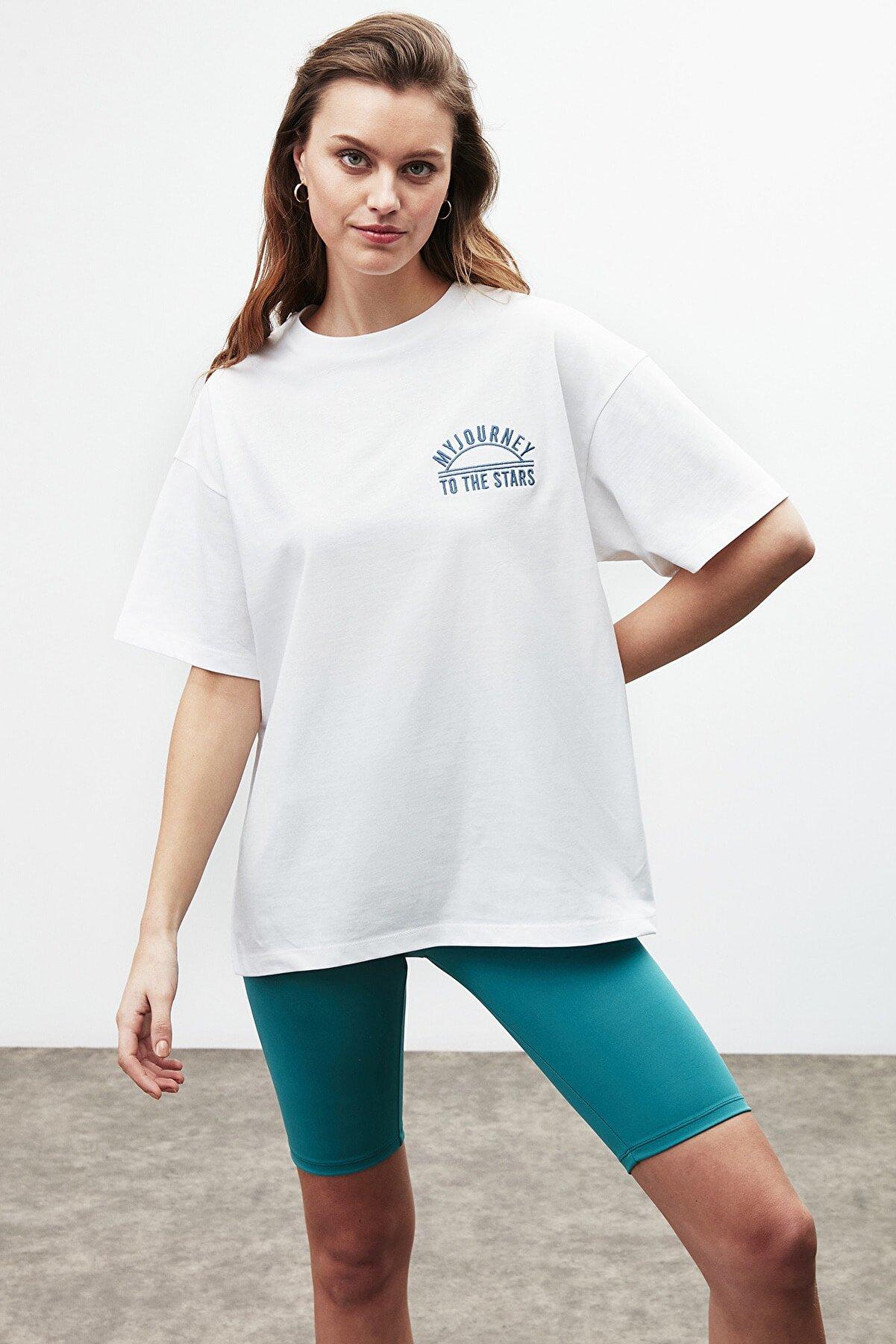 GRIMELANGE Rosa Kadın Beyaz Nakışlı / Işlemeli Bisiklet Yaka T-shirt