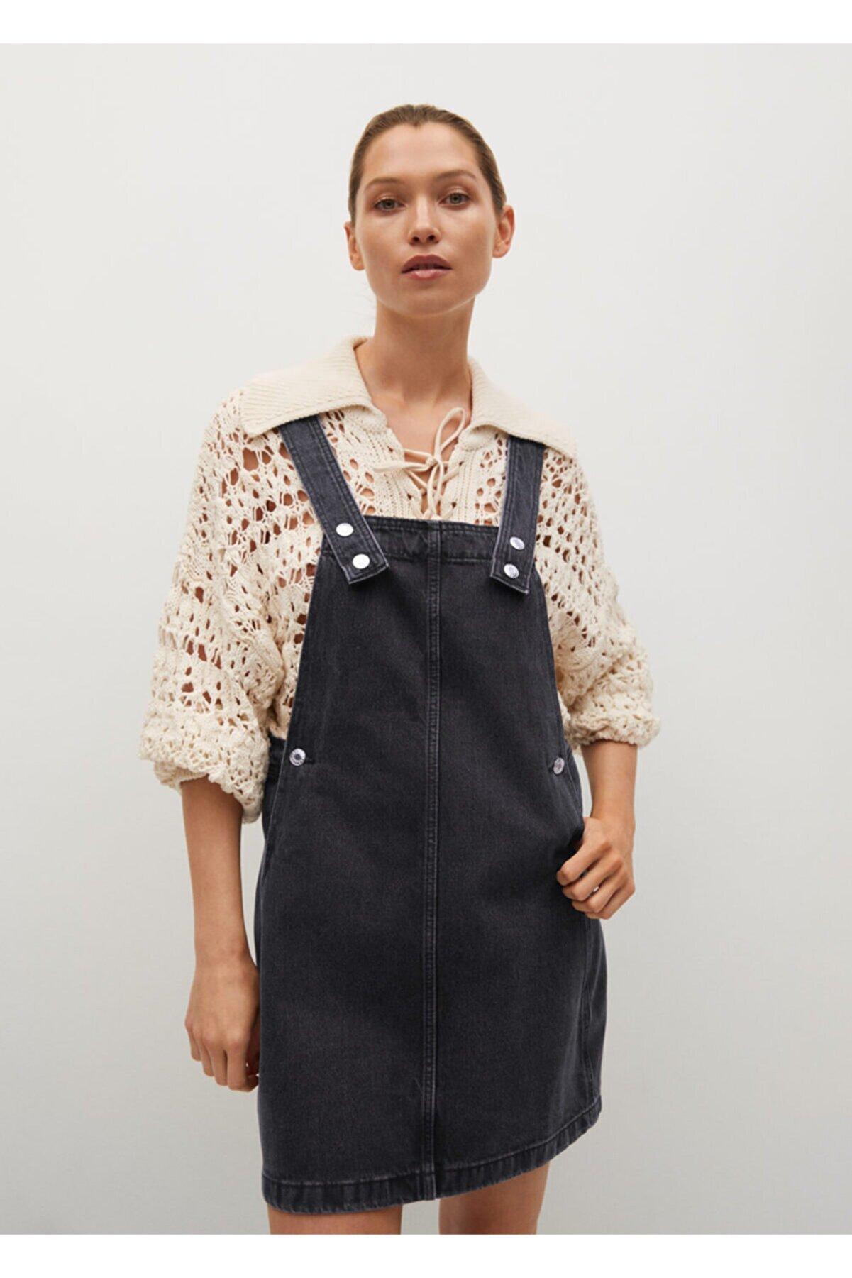 Mango Kadın Siyah Kot Jile Elbise