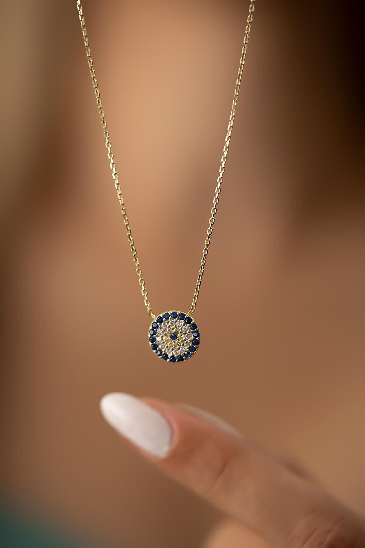 İzla Design Kadın Nazarlık Model Altın Kaplama Gümüş İtalyan Kolye PKT-TLYSLVR0499