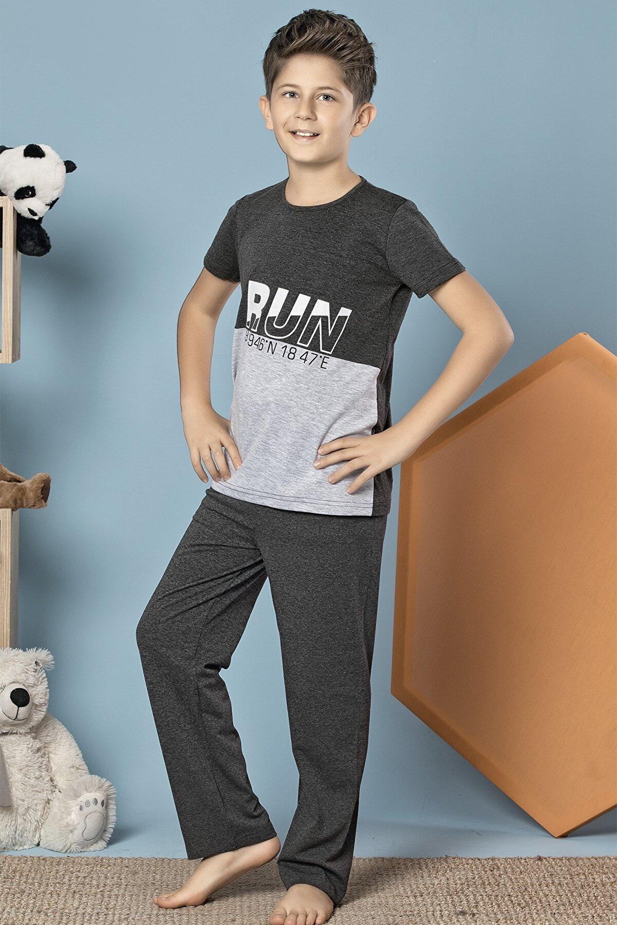 Siyah İnci Erkek Çocuk Antrasit Kısa Kollu Pamuklu Likralı Pijama Takım