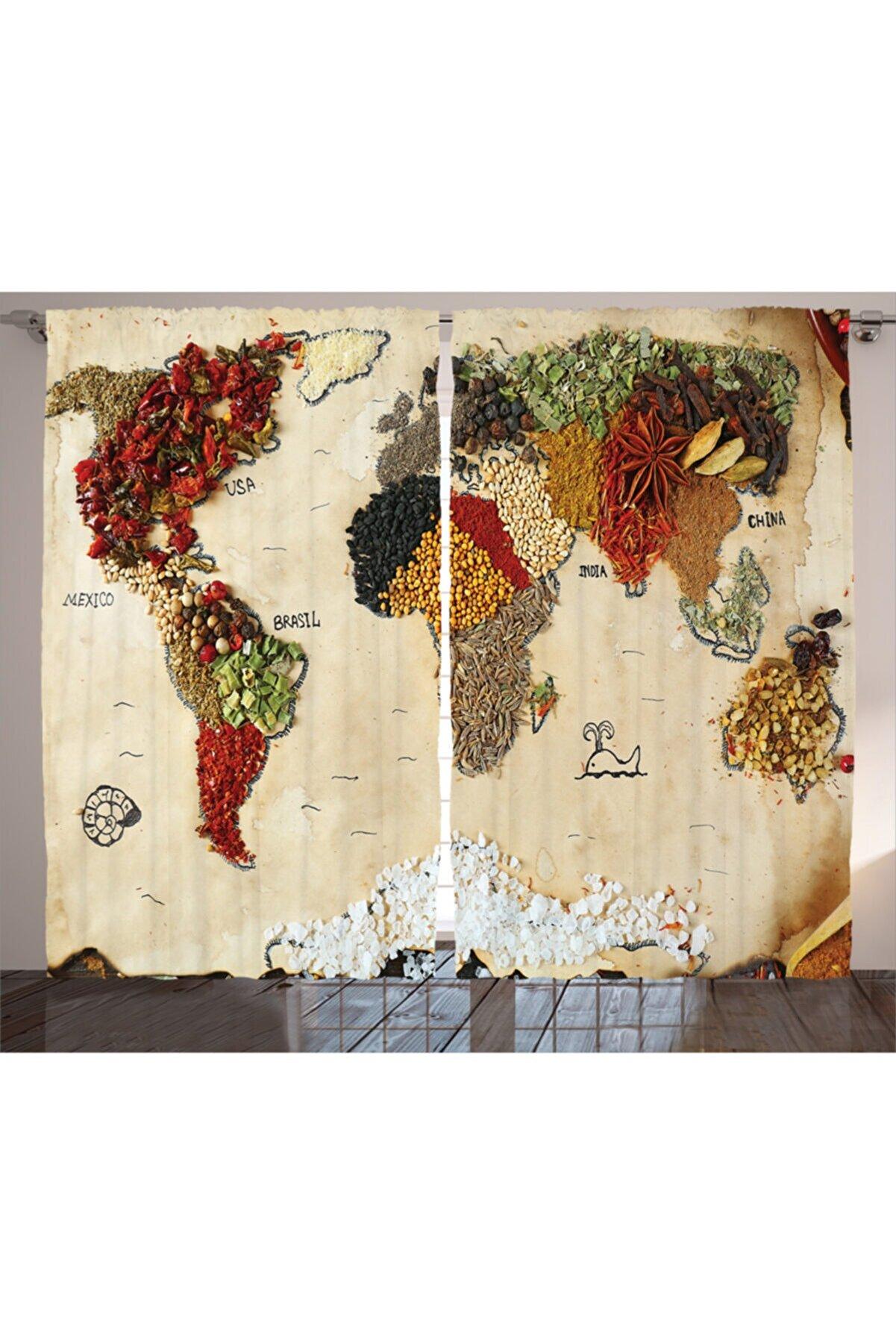 Orange Venue Haritalar Perde Baharat Çeşitleri Dünya Haritası Desenli