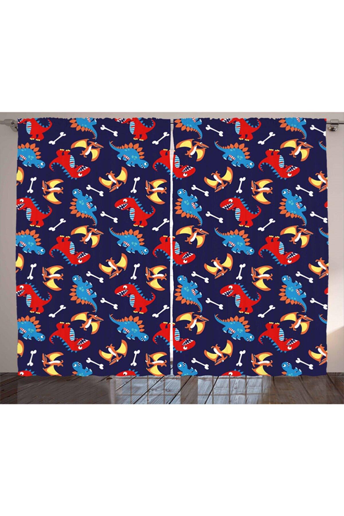 Orange Venue Hayvan Deseni Perde Mavi Kırmızı Dinozorlar