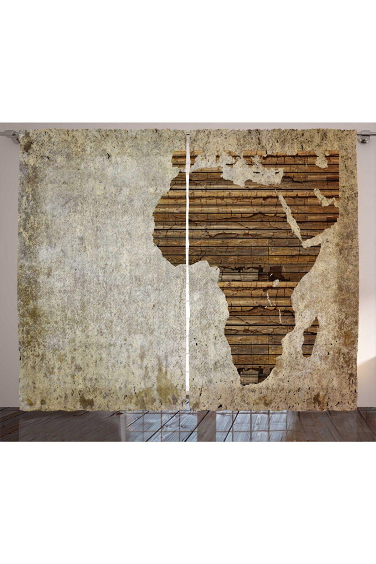 Orange Venue Haritalar Perde Ahşap Afrika Haritası Rengirenk
