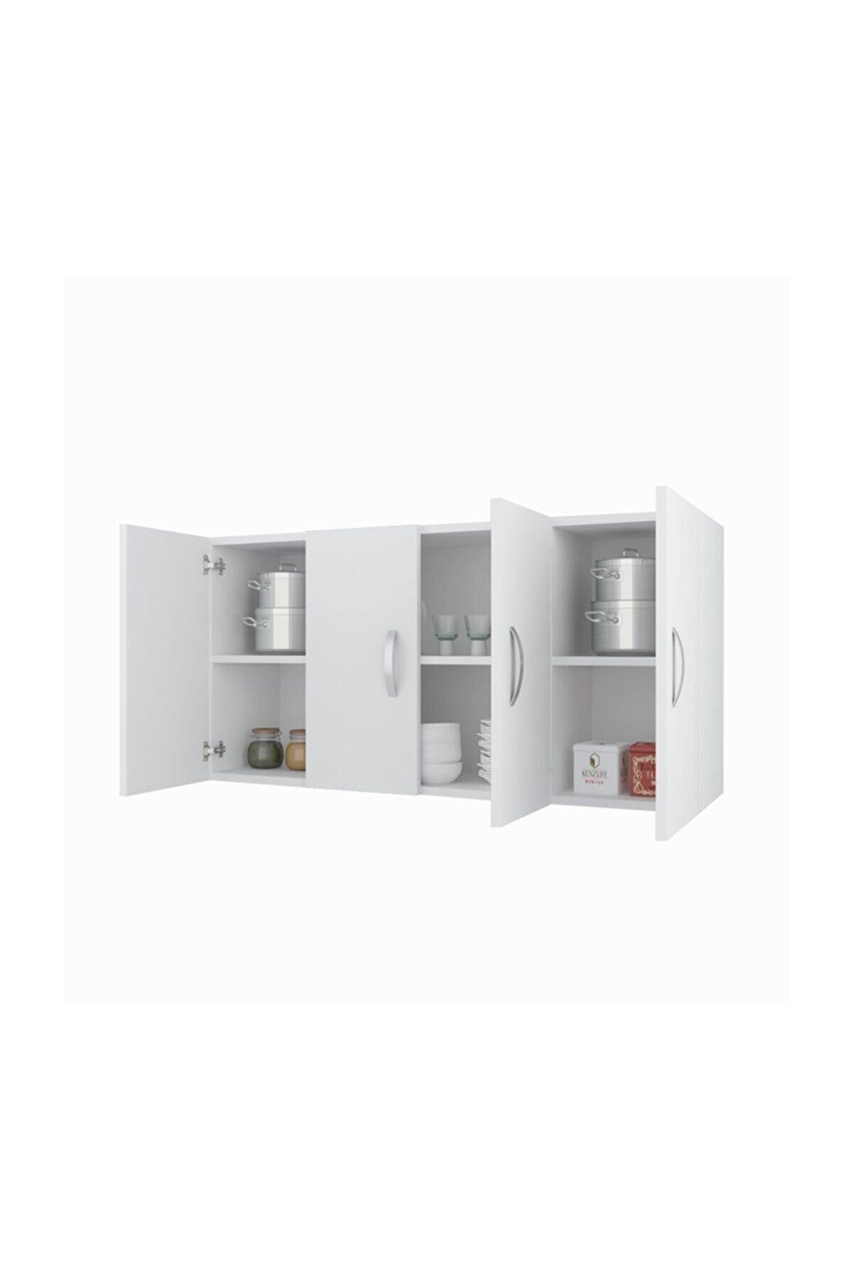 Kenzlife Banyo Dolabı Ruslana Byz 060*120*22 Mutfak Ofis Dolabı Kitaplık Kapaklı Raflı