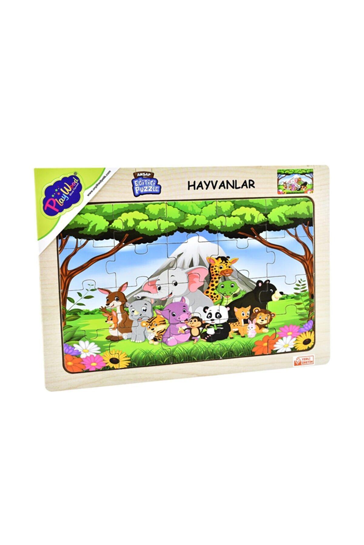 ONYIL OYUNCAK Playwood Ahşap Eğitici Puzzle Hayvanlar Orman