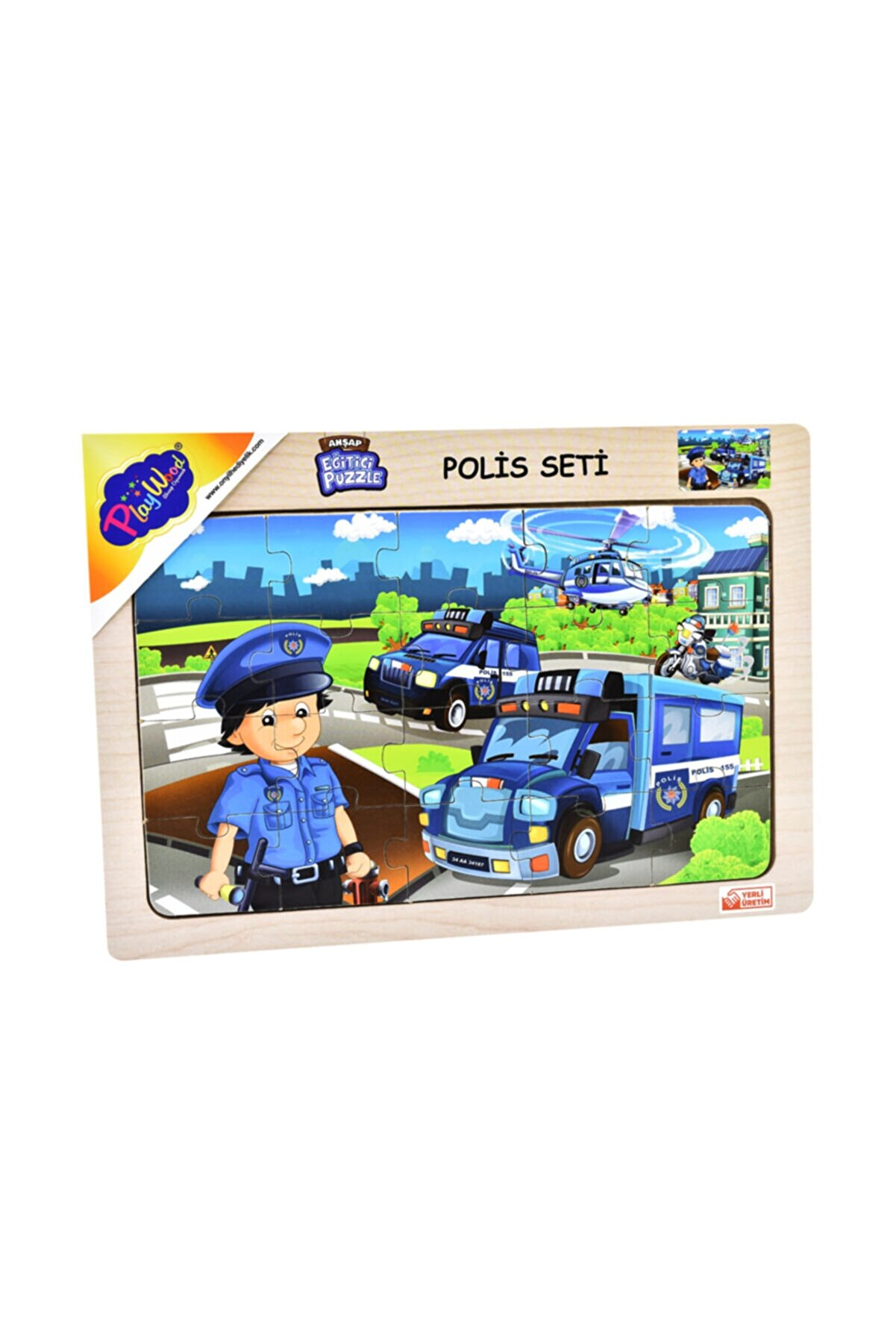ONYIL OYUNCAK Playwood Ahşap Eğitici Puzzle Seti Polis Seti