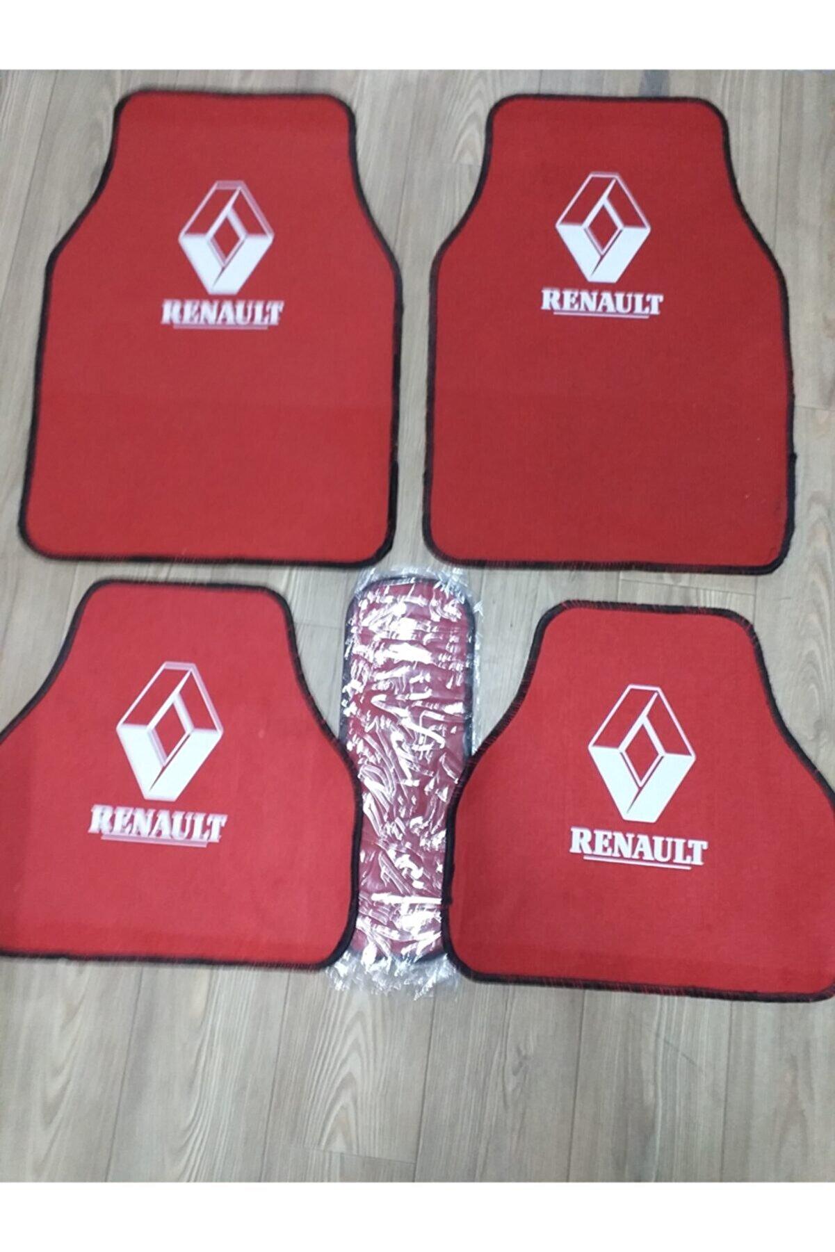 Universal Renault R9 Renault Logolu Kırmızı Halı Paspas Çift Katlı
