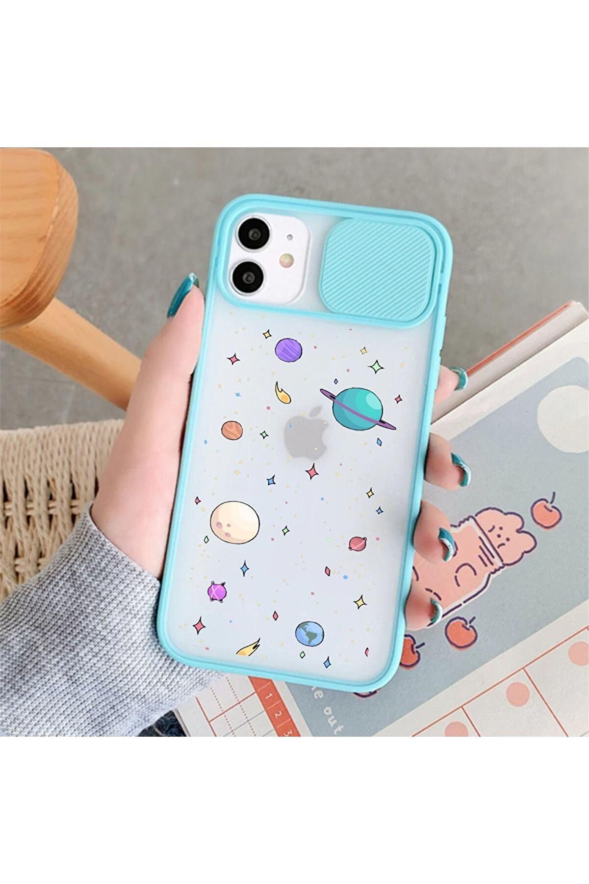 mooodcase Iphone 11 Gezegenler Desenli Kamera Korumalı Mint Telefon Kılıfı