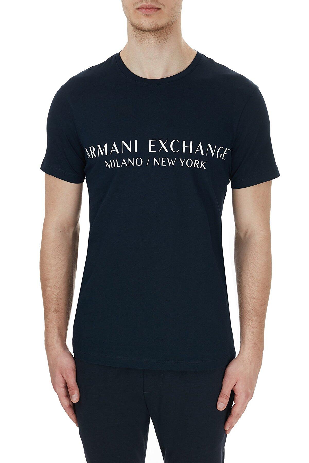 Armani Exchange Erkek Pamuklu Baskılı Bisiklet Yaka T Shirt