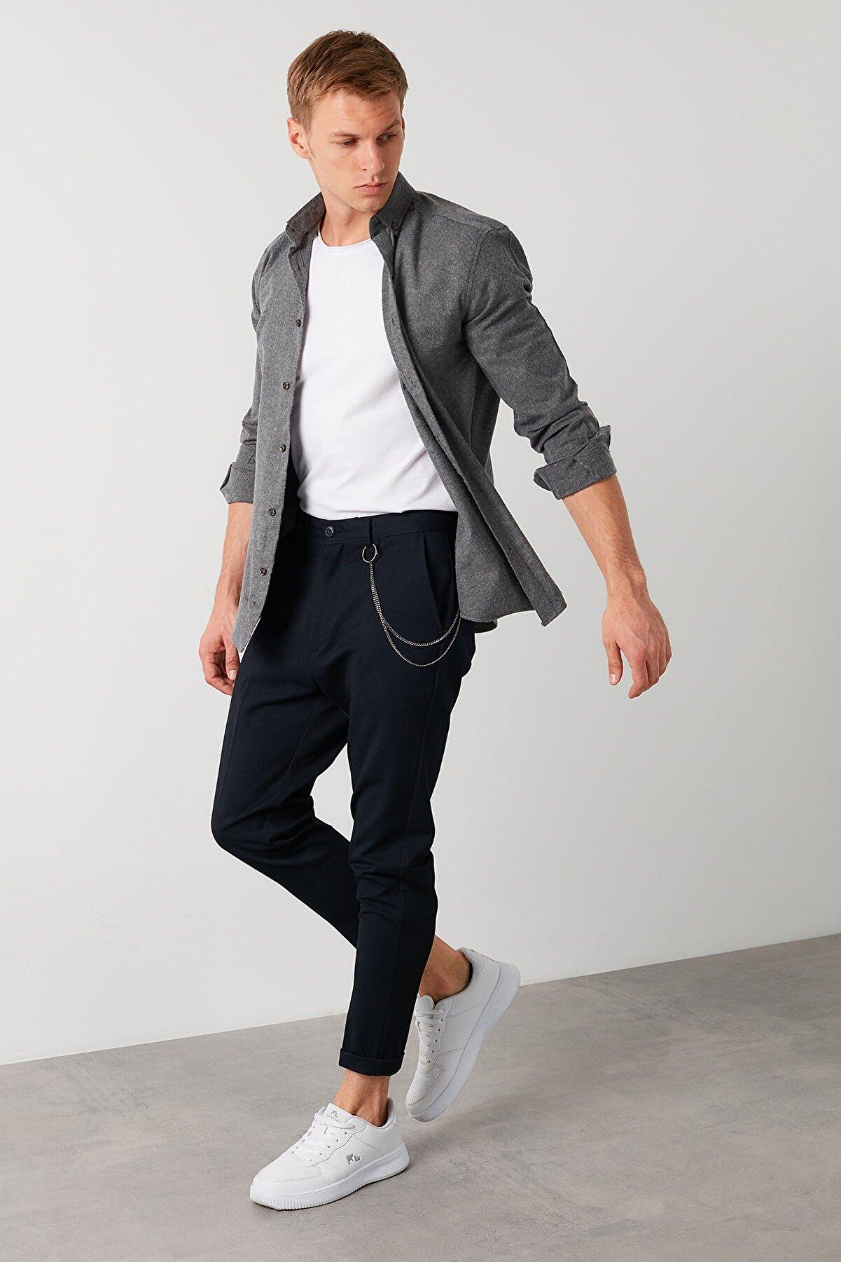 Buratti Erkek Gri Pamuklu Düğmeli Yaka Uzun Kollu Oduncu Gömlek Cf21w112238