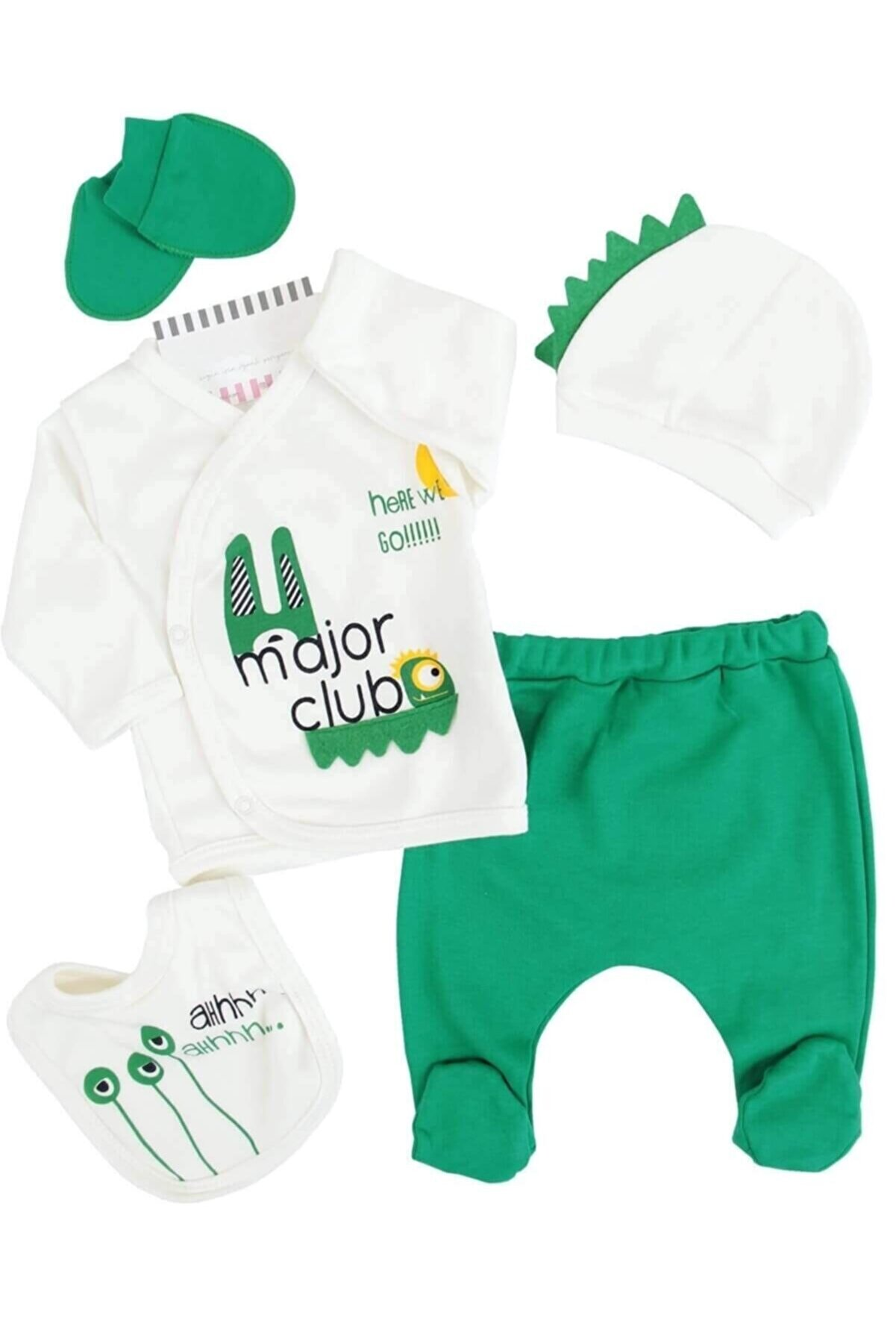 mini zeyn Erkek Bebek Yeşil Major Yeşil Hastane Çıkışı Takım 5'li