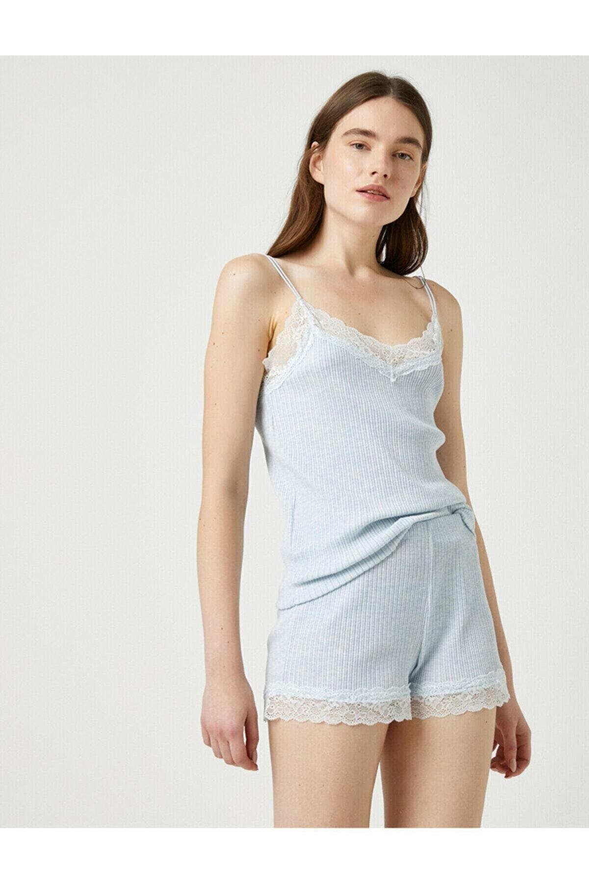 Koton Kadın Mavi Melange Pijama Üstü