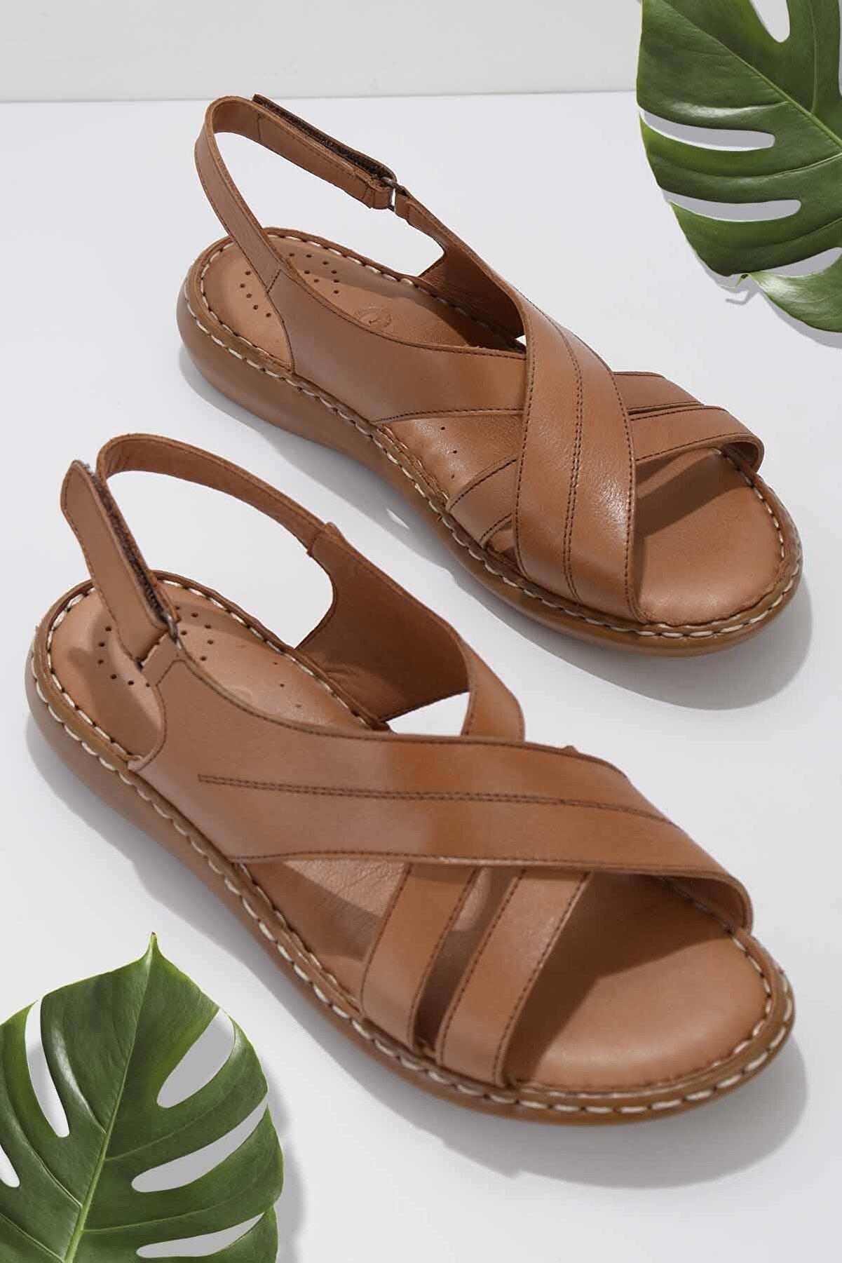 Bambi Taba Hakiki Deri Kadın Sandalet K05907021503