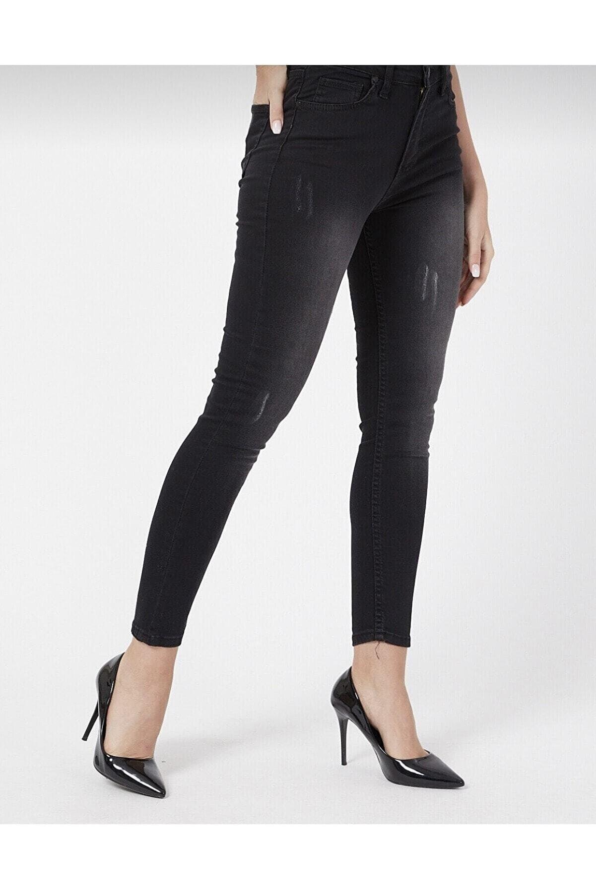 TRENDNATUREL Ramrod Jeans Tırnaklı Taslamalı Sıyah Jeans Lütfen Beden Tablomuza Göre Sipariş Veriniz