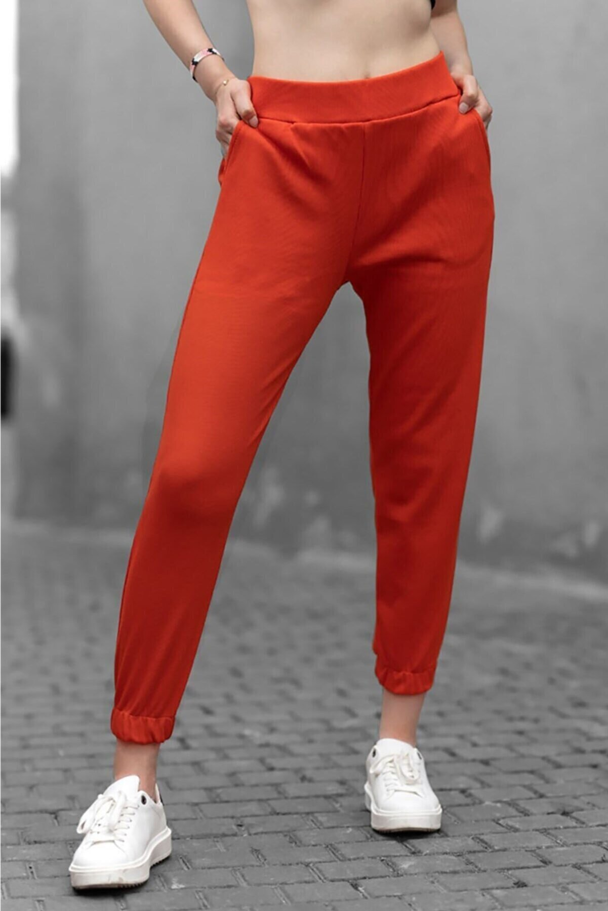 Madmext Kadın Turuncu Fitilli Basic Eşofman MG363