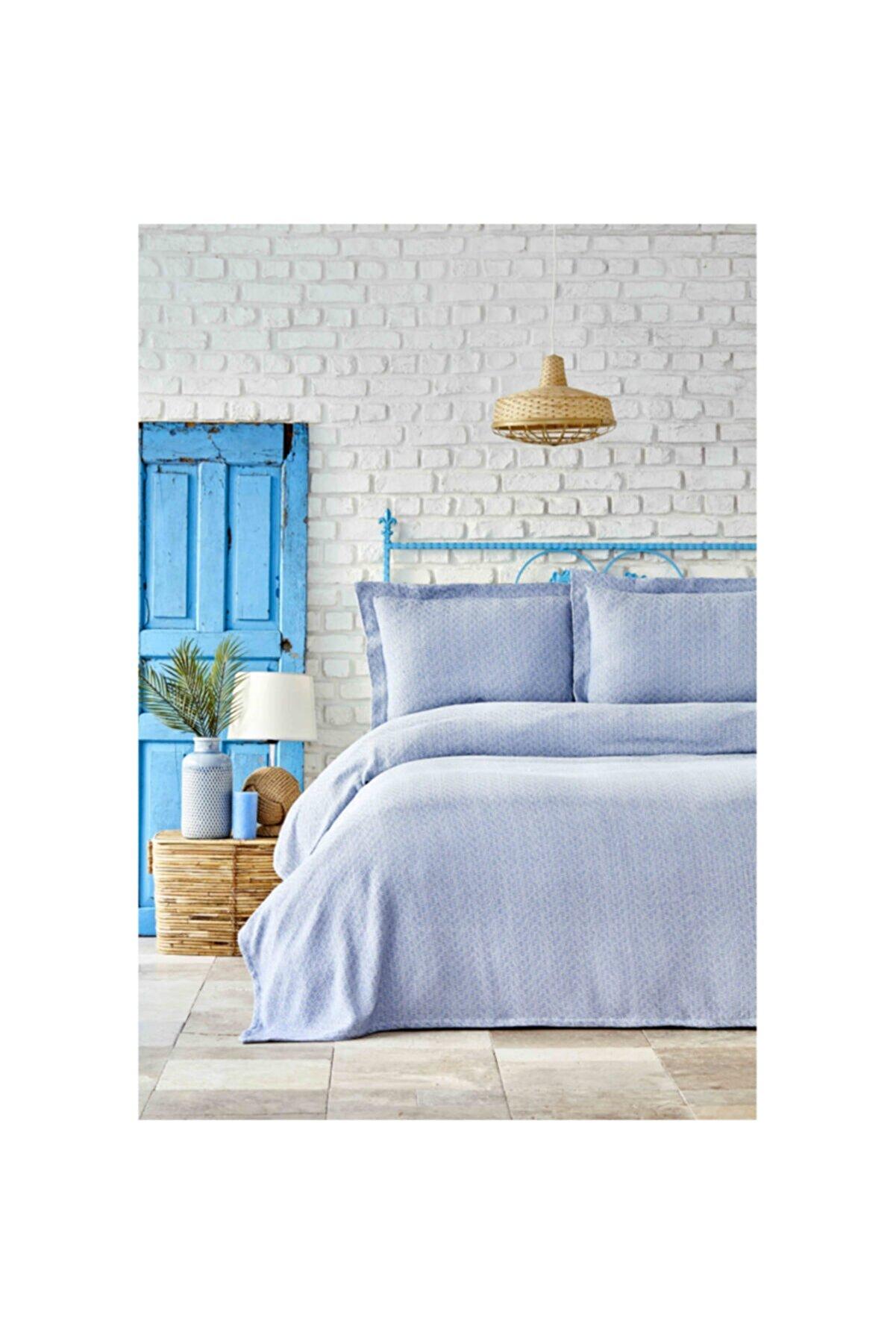 Karaca Home Stella Açık Mavi Çift Kişilik Yatak Örtüsü Seti
