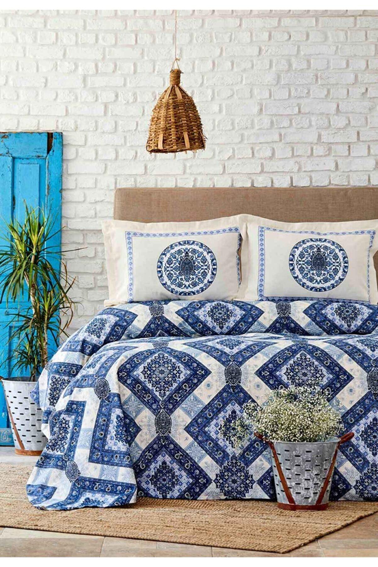 Karaca Home Levni Mavi Çift Kişilik Nevresim Yastık Set