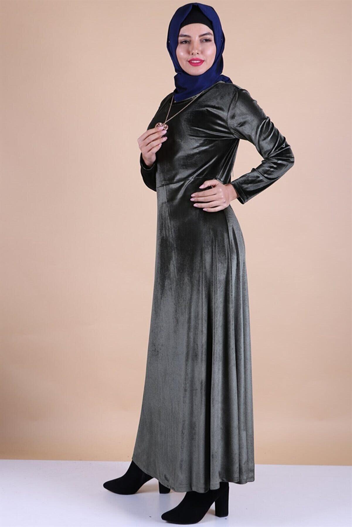 MODA STORE Kadın Haki Kadife Kolyeli Tesettür Elbise