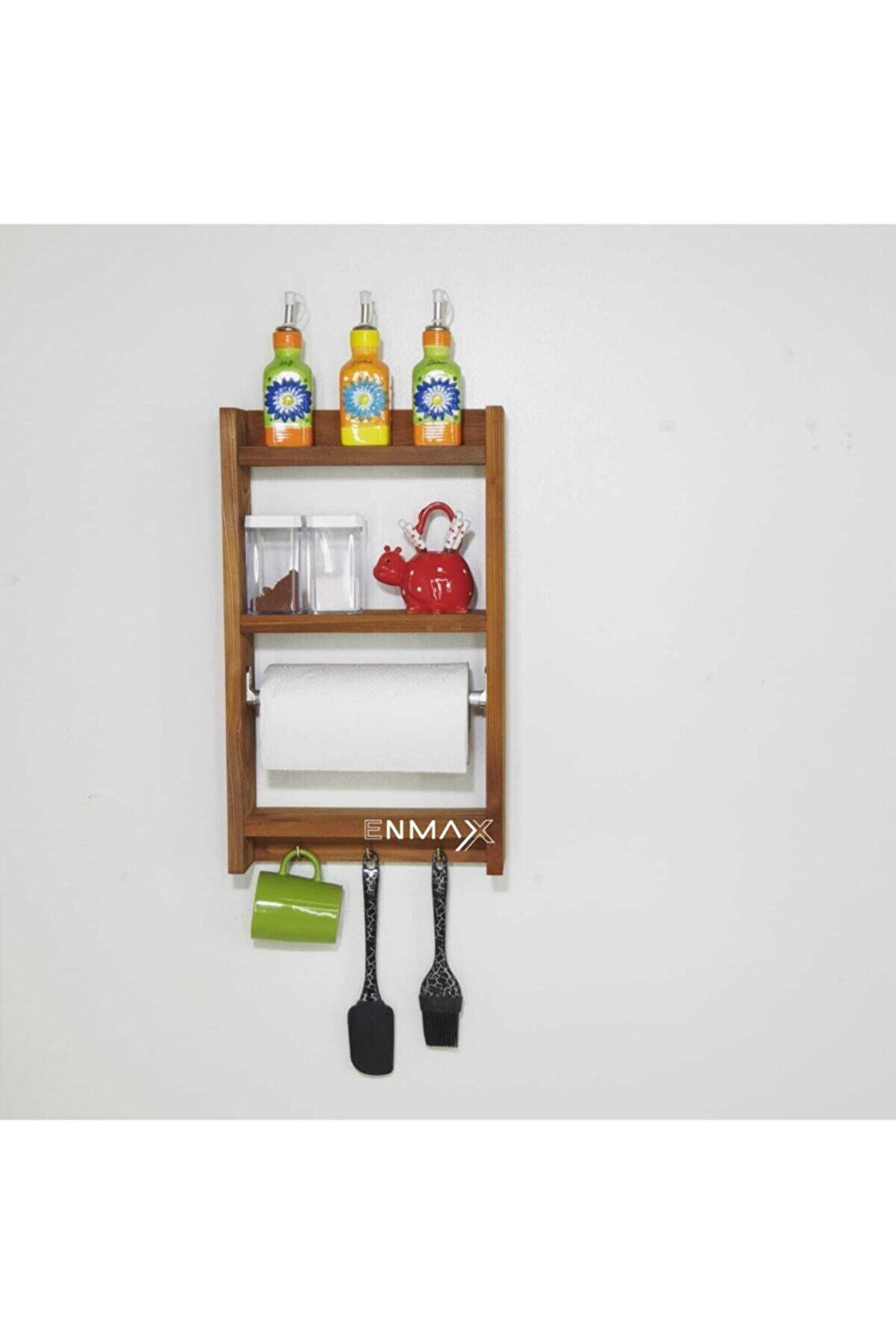 Enmax Ahşap Mutfak Banyo Duvar Rafı Kupalık Kağıt Havluluk Askılık