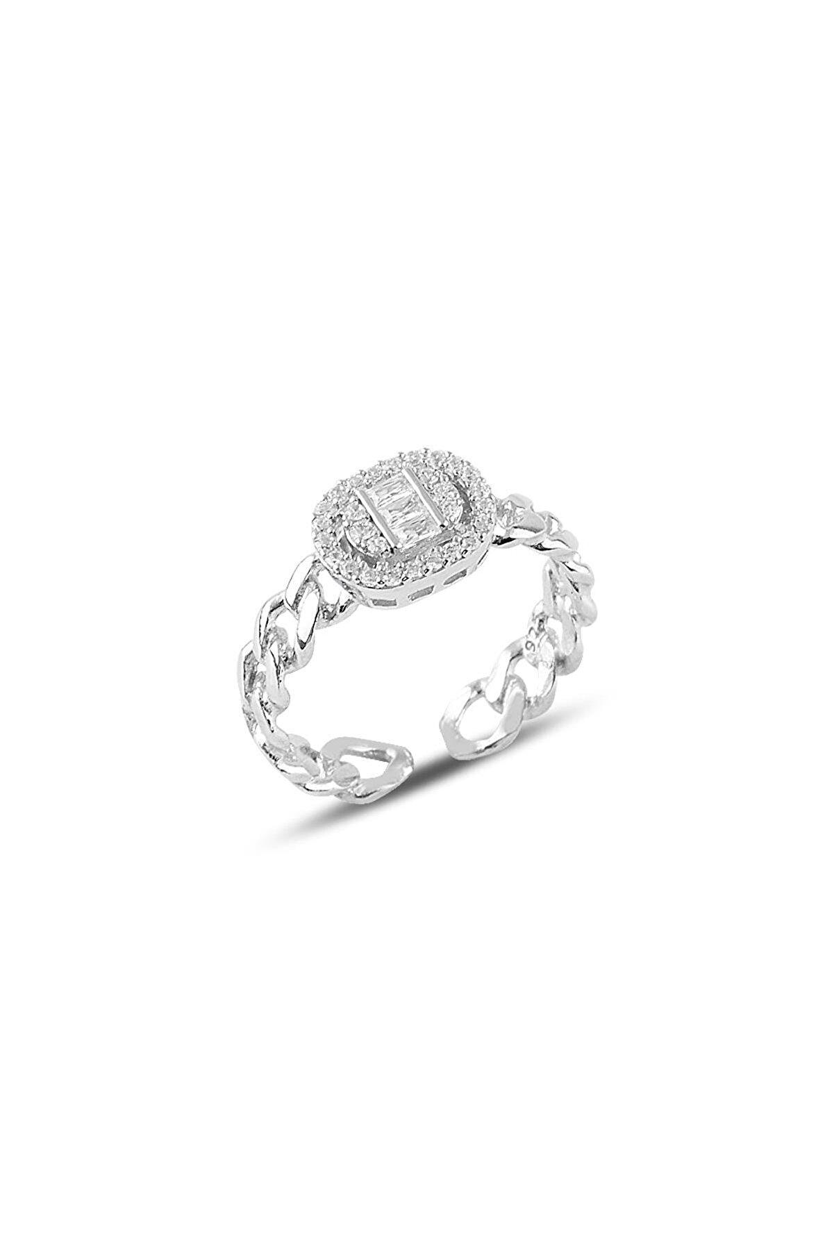 Söğütlü Silver Gümüş Ayarlamalı Pırlanta Modeli Zincir Yüzük