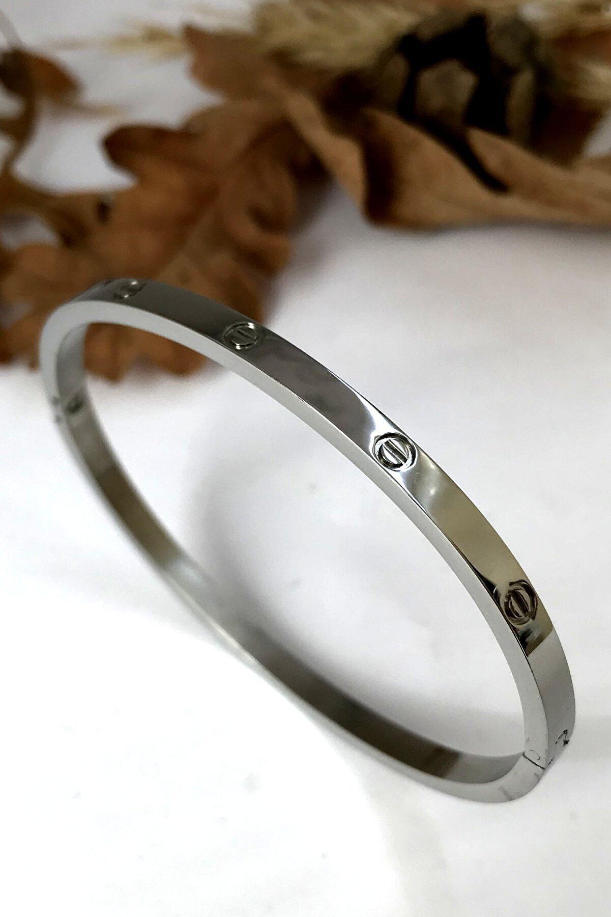 Bin1Gecem Takı Ince Taşsız Cartier Paslanmaz Çelik Bayan Bileklik