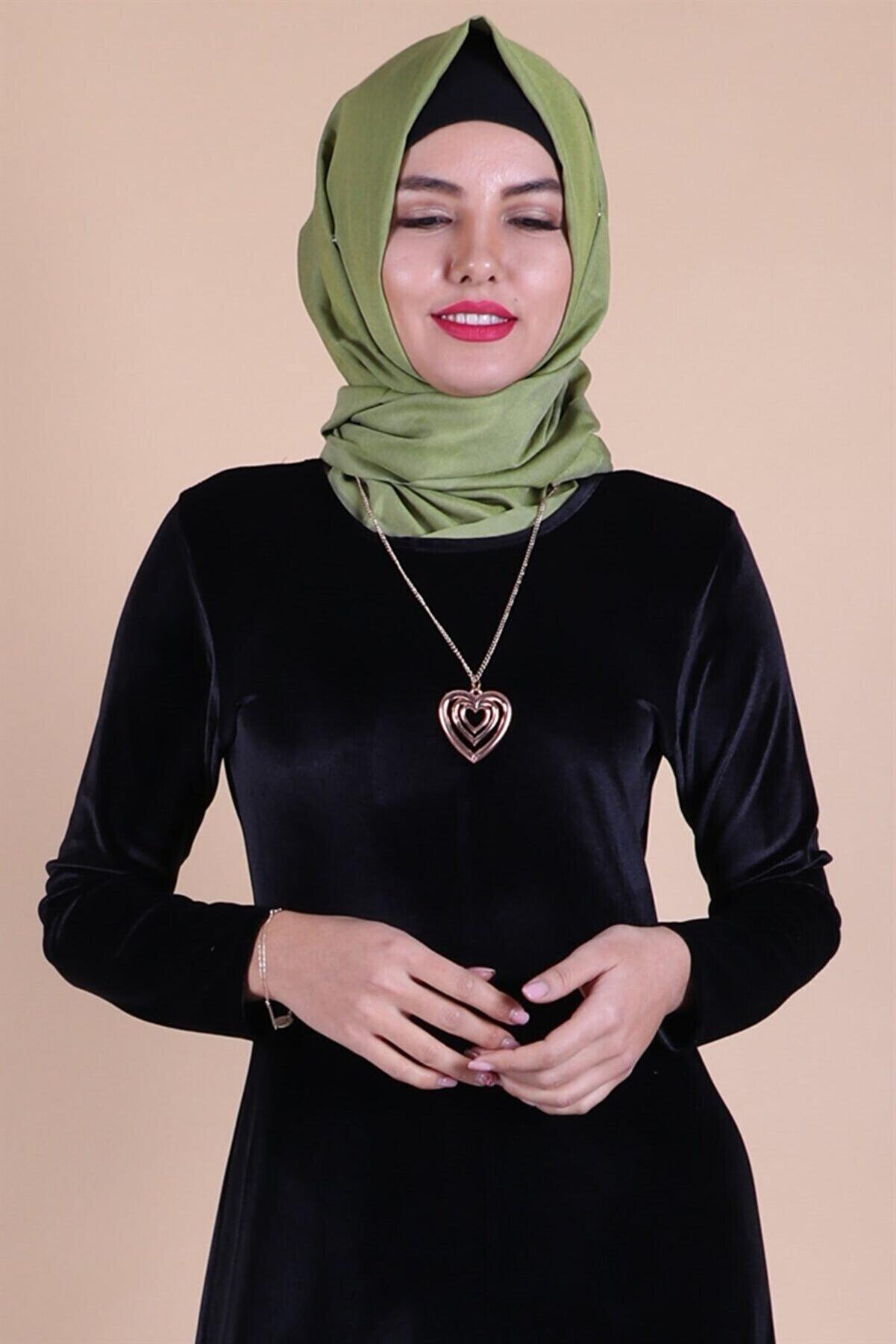 MODA STORE Kadın Siyah Kadife Kolyeli Tesettür Elbise 5473