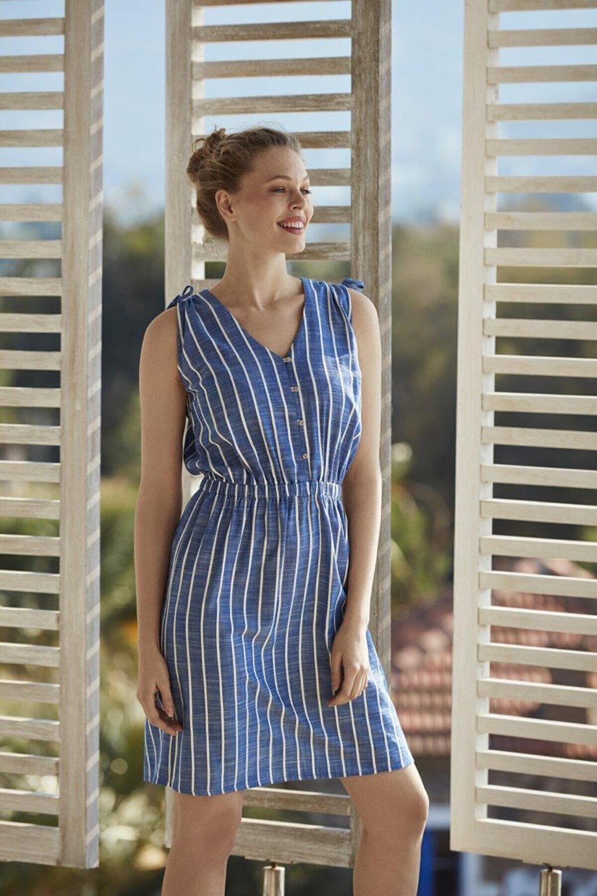 Penye Mood Kadın İp Askılı Elbise PM8536-MAVI-M