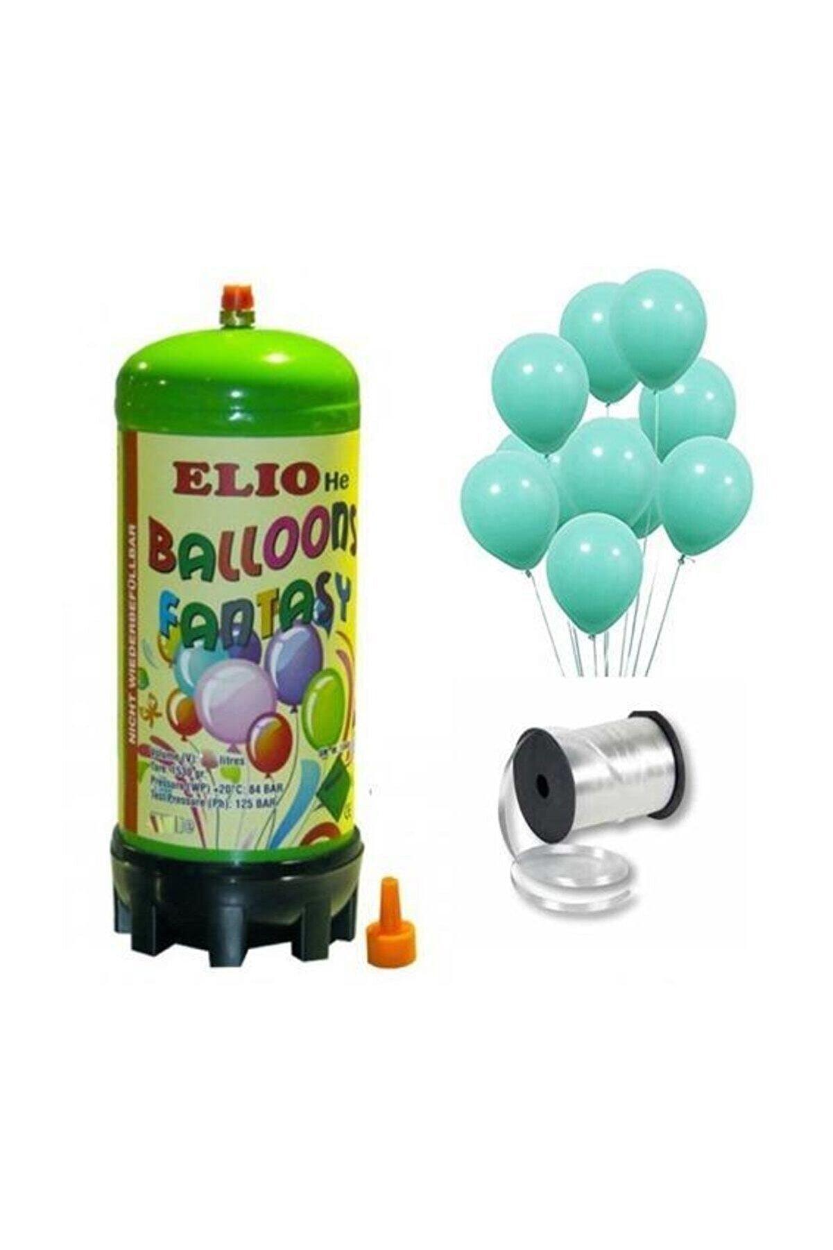 Parti Dolabı Helyum Gazı Tüp+ 20 Adet Mat Mint Yeşili Turkuaz Uçan Balon+ Ipi