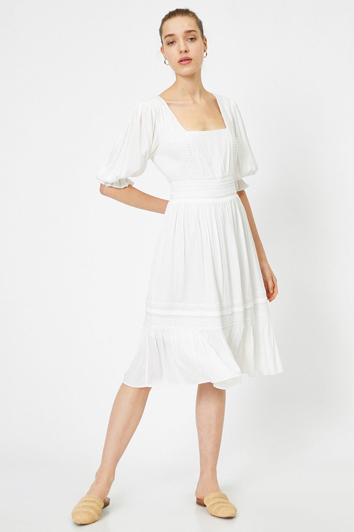 Koton Kadın Beyaz Elbise 0YAK83774EW