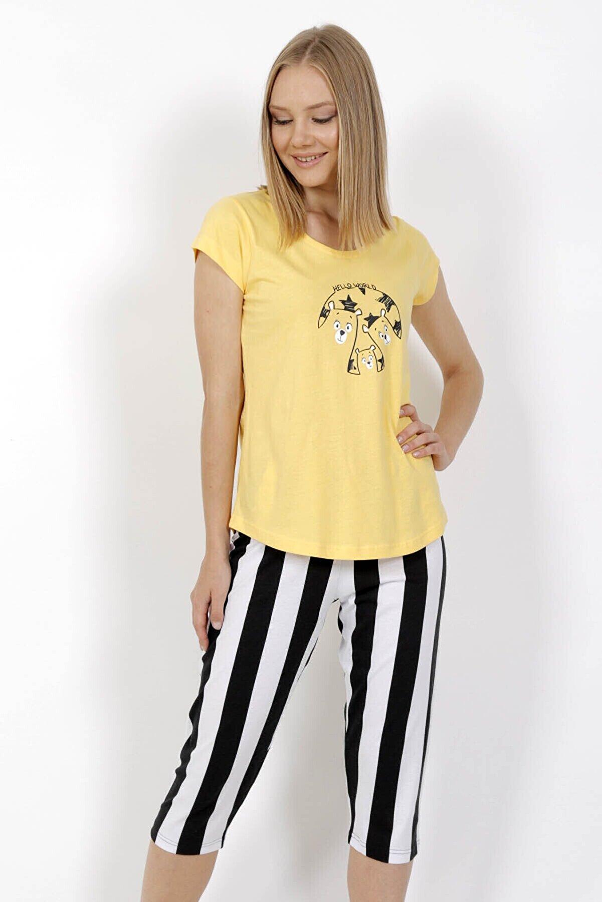 Vienetta Kadın Sarı Pamuklu Kısa Kol Kaprili Pijama Takım