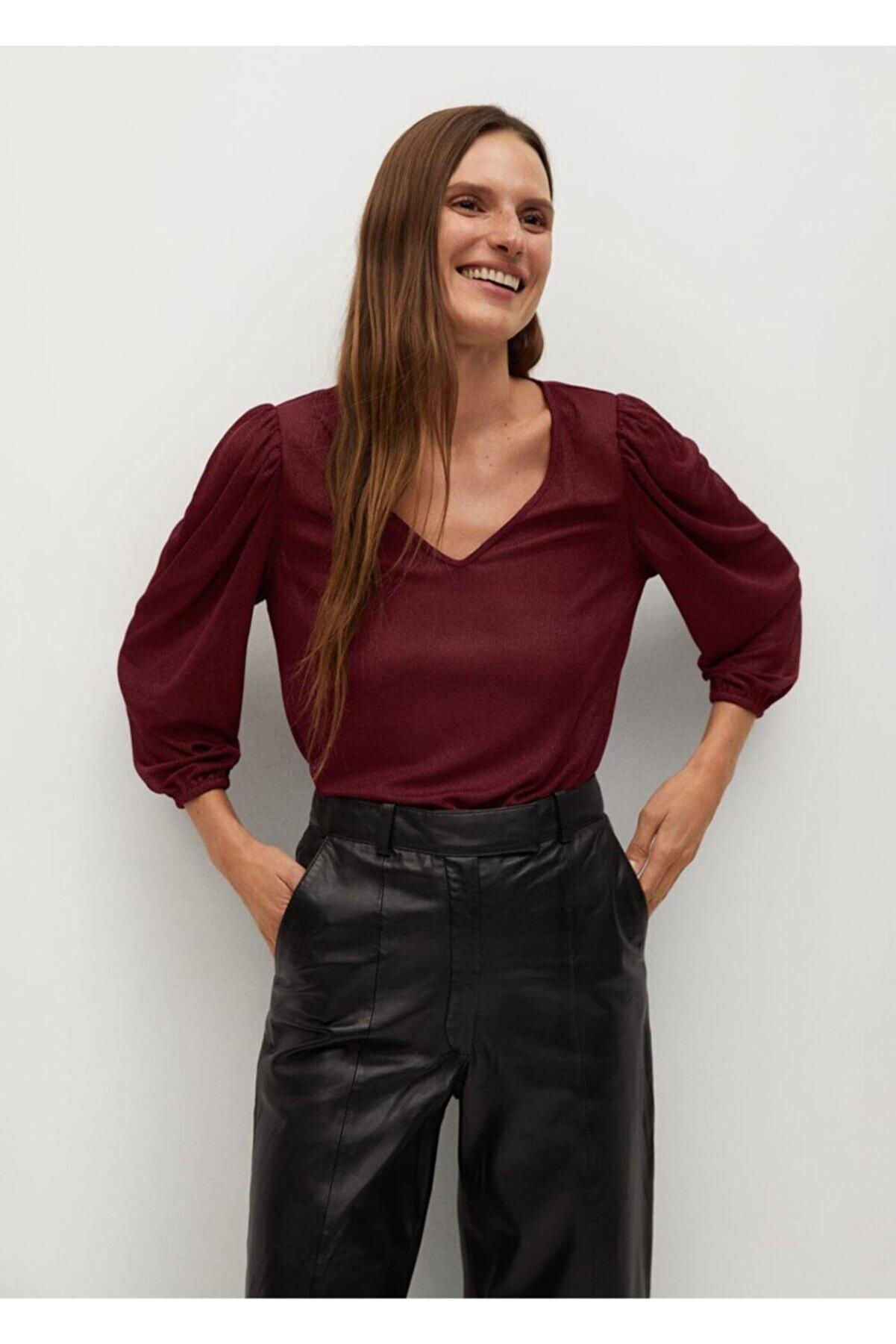 Mango Kadın Bordo Bluz