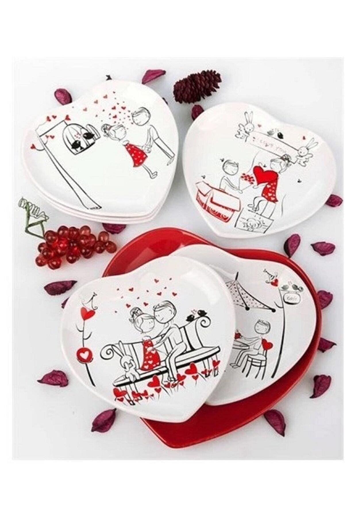 Keramika Takım Kalp 7 Parca Perı Masalı Pasta Tabağı