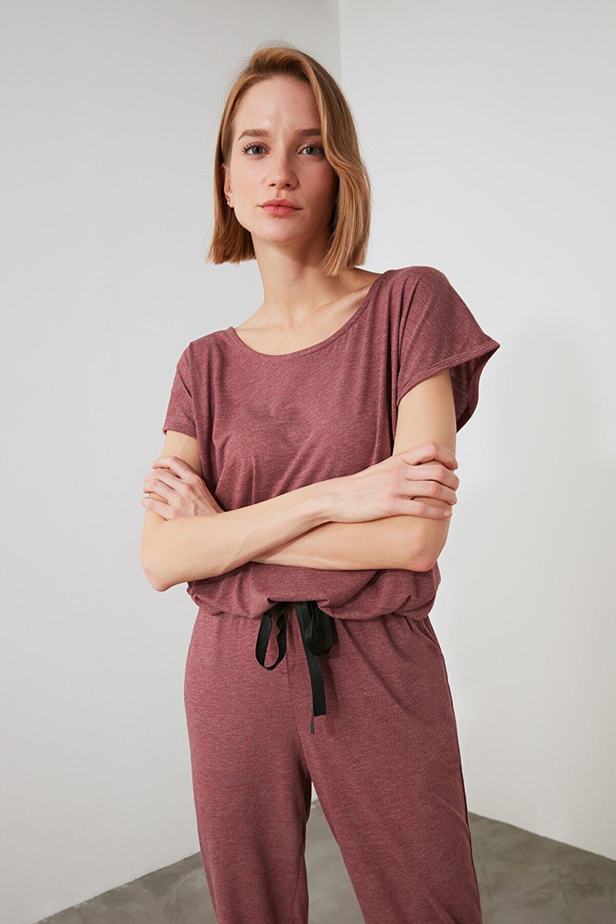 TRENDYOLMİLLA Gül Kurusu Bağlama Detaylı Örme Pijama Takımı THMSS20PT0068