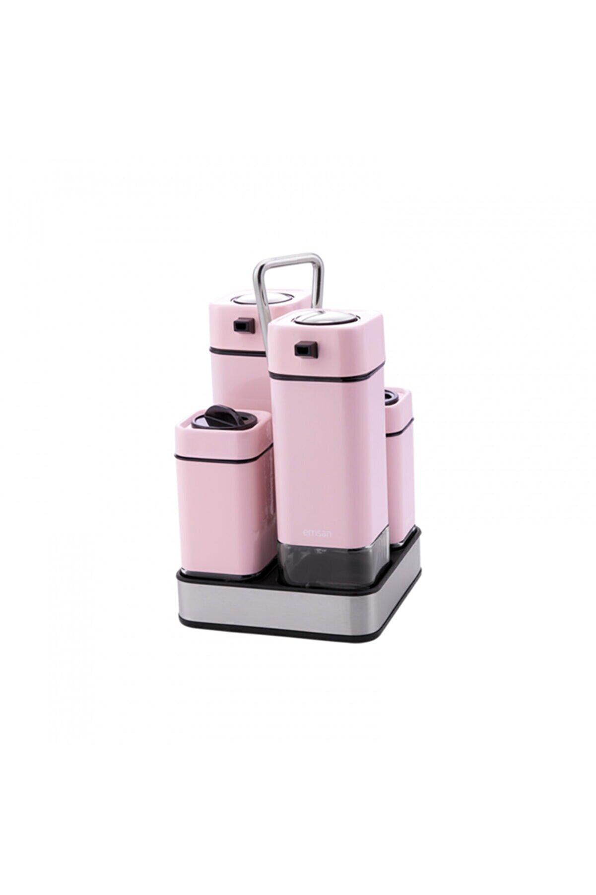 Emsan Plaza Yağlık Sirkelik Tuzluk Biberlik Seti Baby Pink