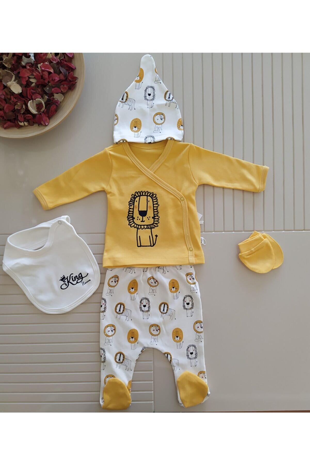 Nonna Baby Erkek Bebek Sarı Aslan Nakışlı Yenidoğan Hastane Çıkışı 5'li Takım