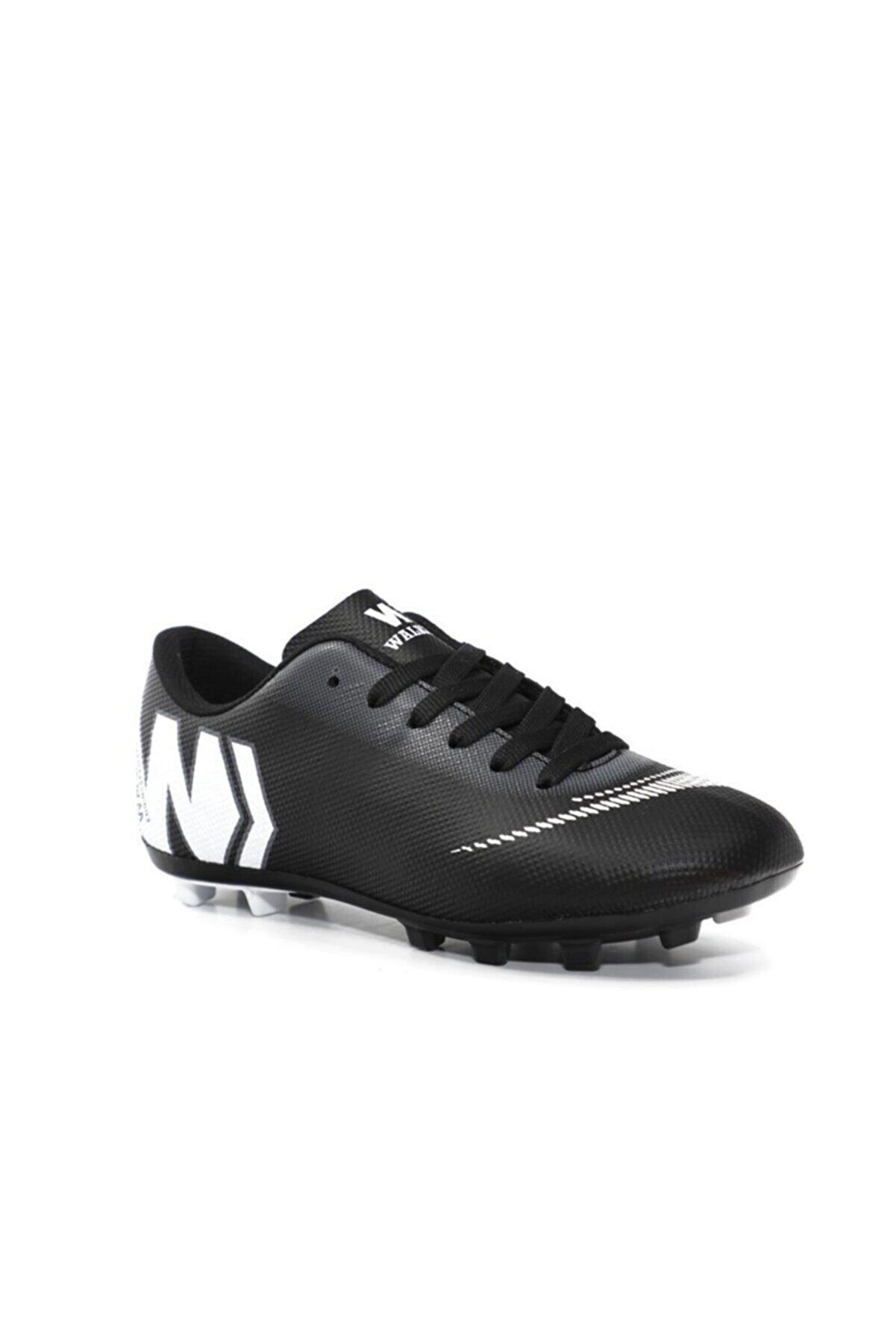 Walked Siyah Beyaz Erkek Krampon Futbol Ayakkabısı
