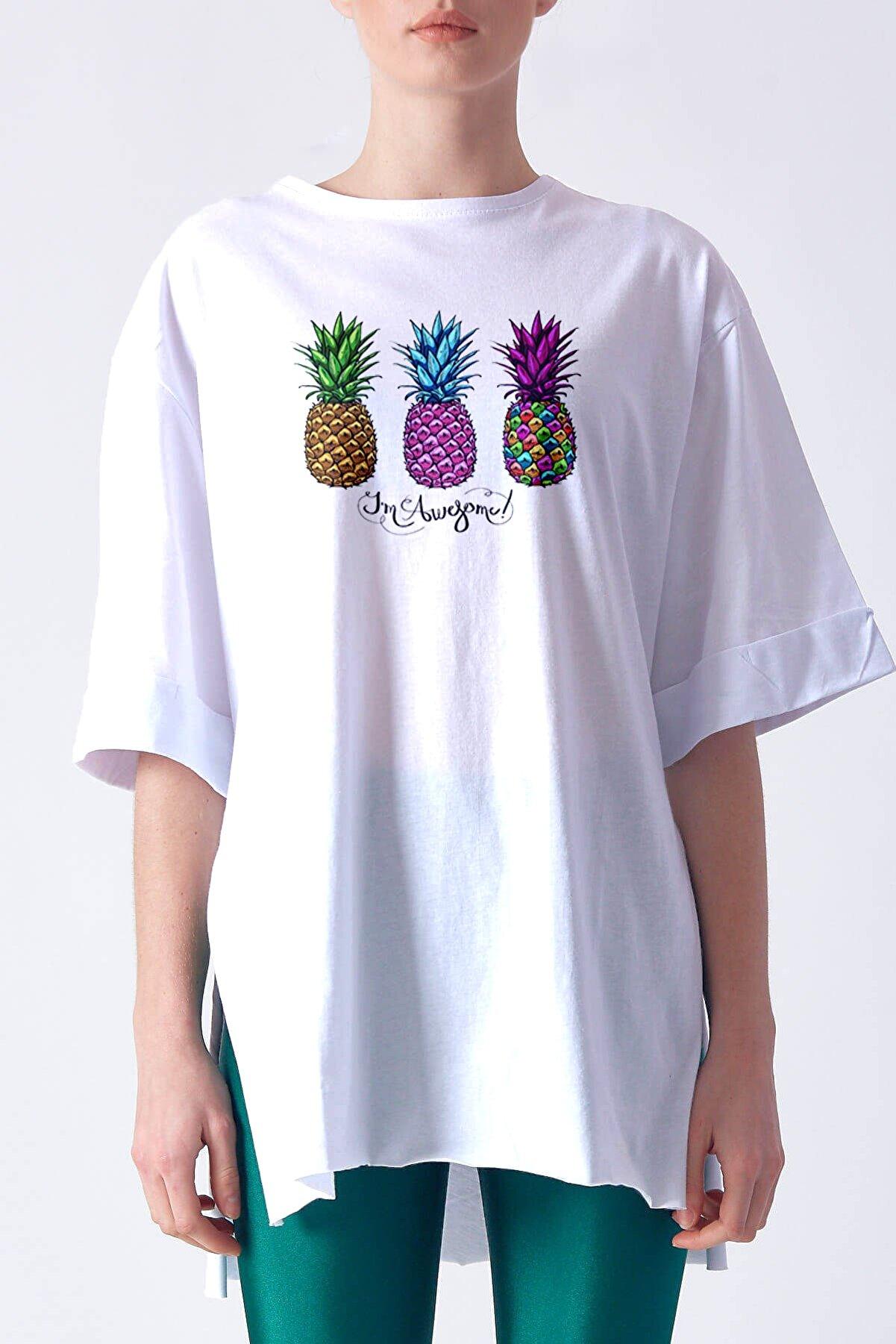 SporSen Kadın Yandan Yırtmaçlı Duble Kol Önü Baskılı T-shirt Kt1945