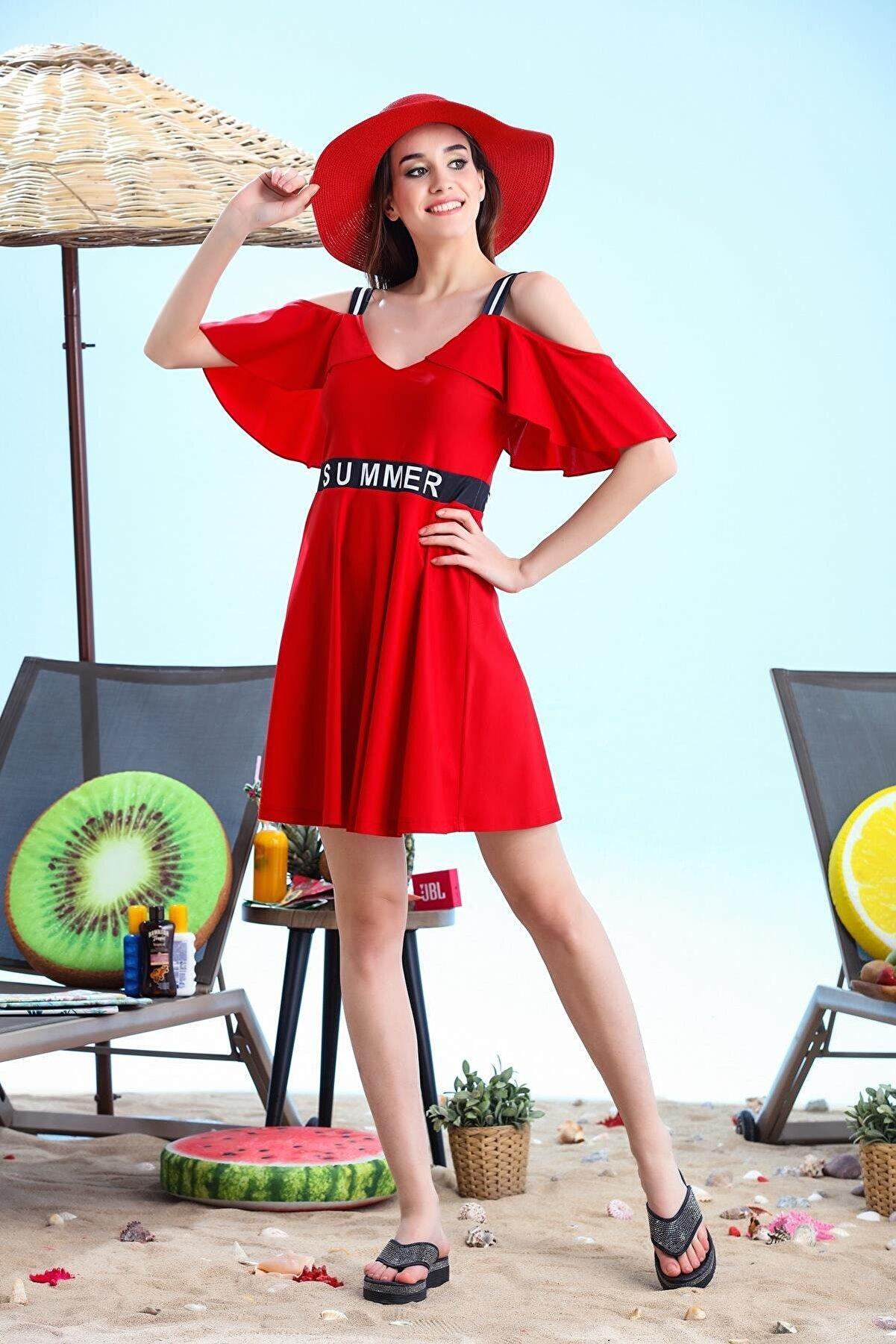Moodbasic Kadın Kırmızı Volanlı Elbise Mayo