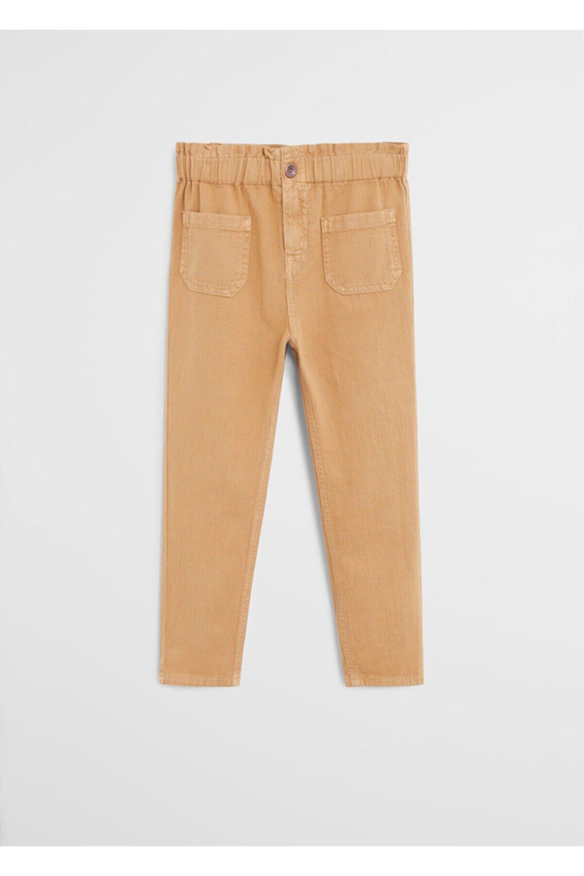 Mango Kız Çocuk Bej Yüksek Bel Düz Kesim Pantolon