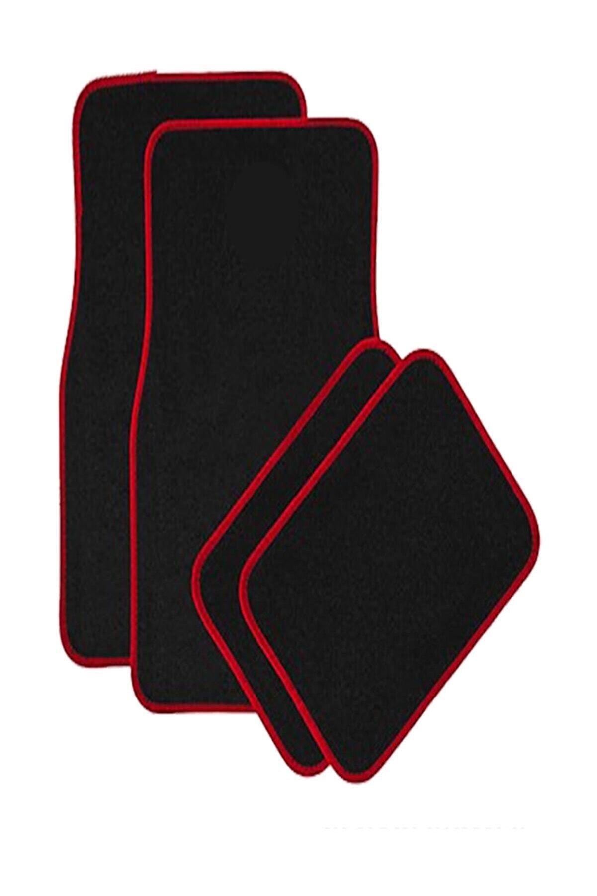 ModaCar 4 Parça Kaymaz Siyah Kırmızı Kenar Araba Halı Paspas