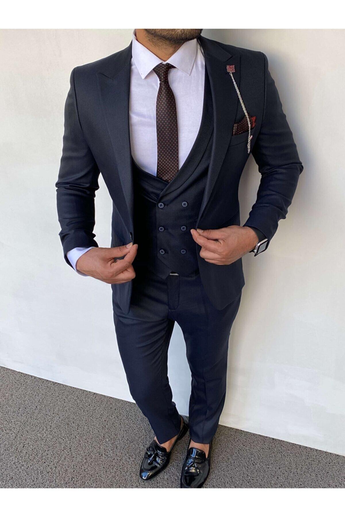 Phimoda Erkek Lacivert  Slim Fit Düz Model Takım Elbise Ceket Yelek Pantolon